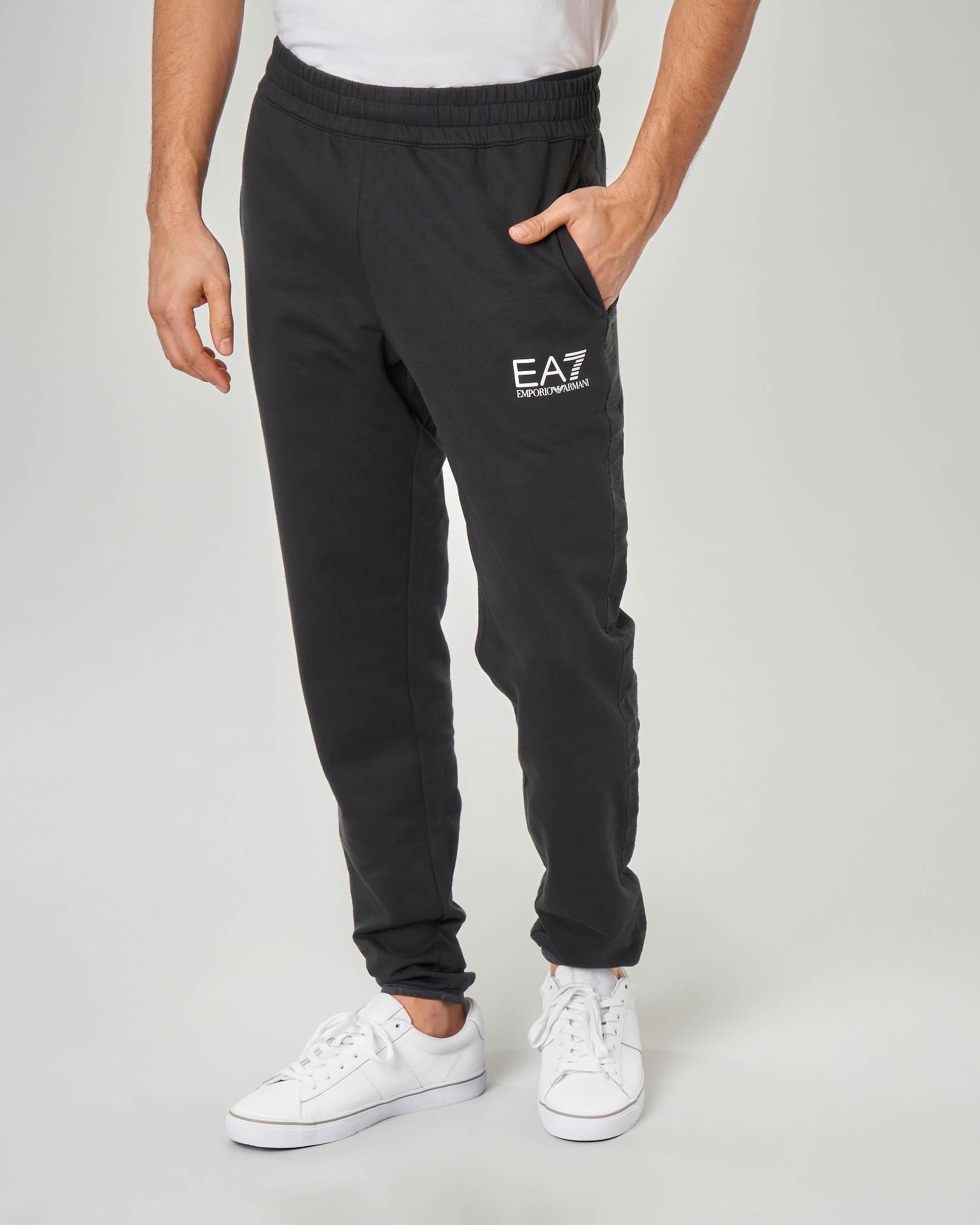 Pantalone nero in felpa con banda
