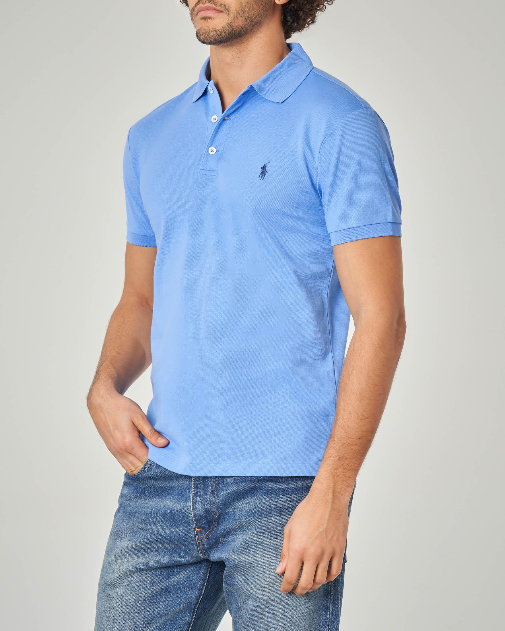 Polo azzurra custom slim-fit