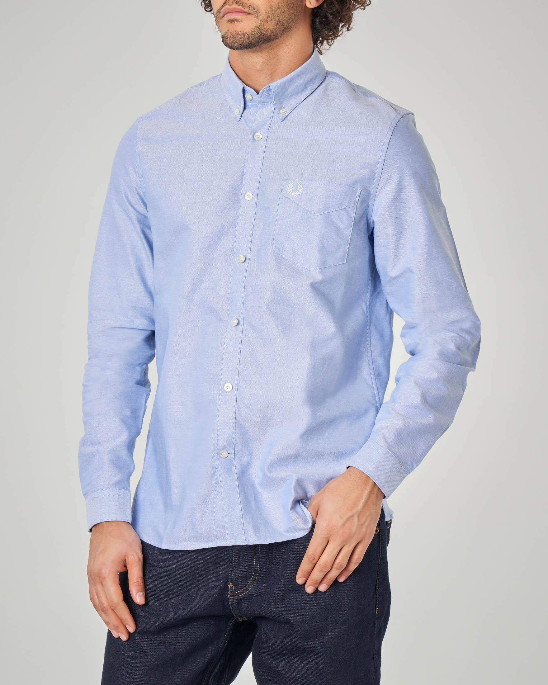 Camicia azzura in Oxford-cotton button down