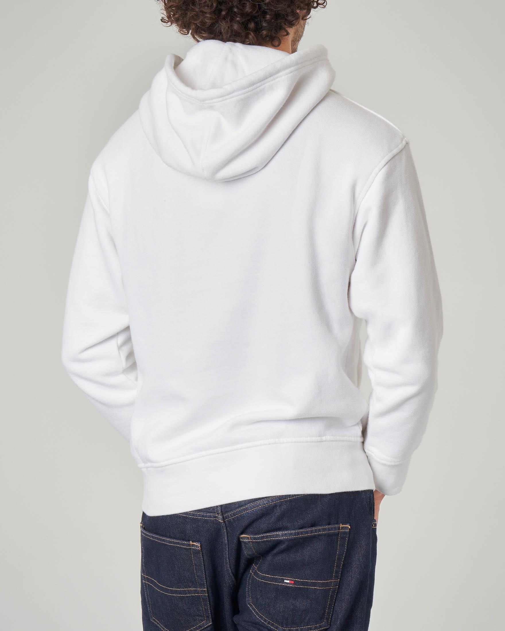 Felpa bianca con cappuccio e logo in spugna