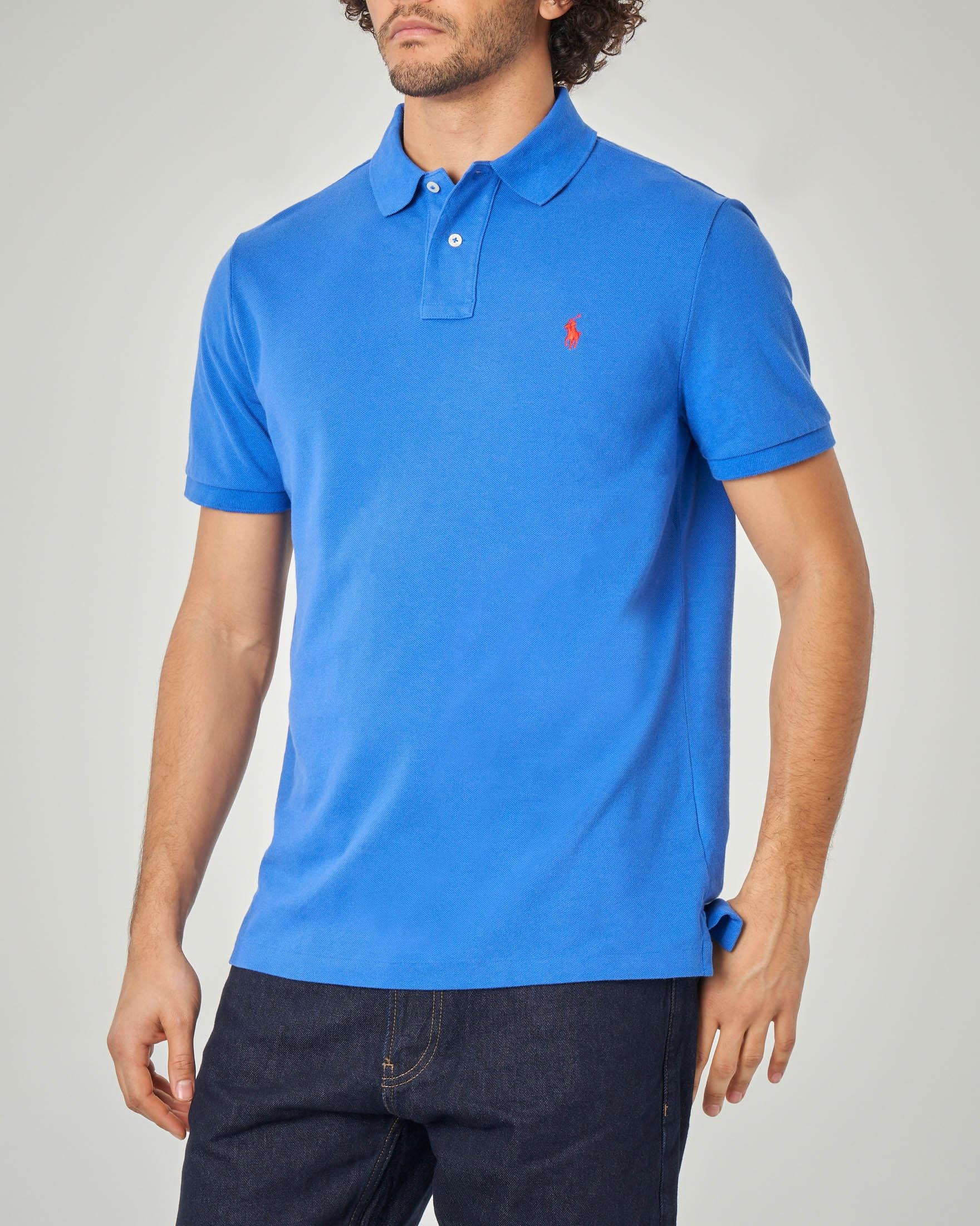 Polo blu royal custom slim-fit