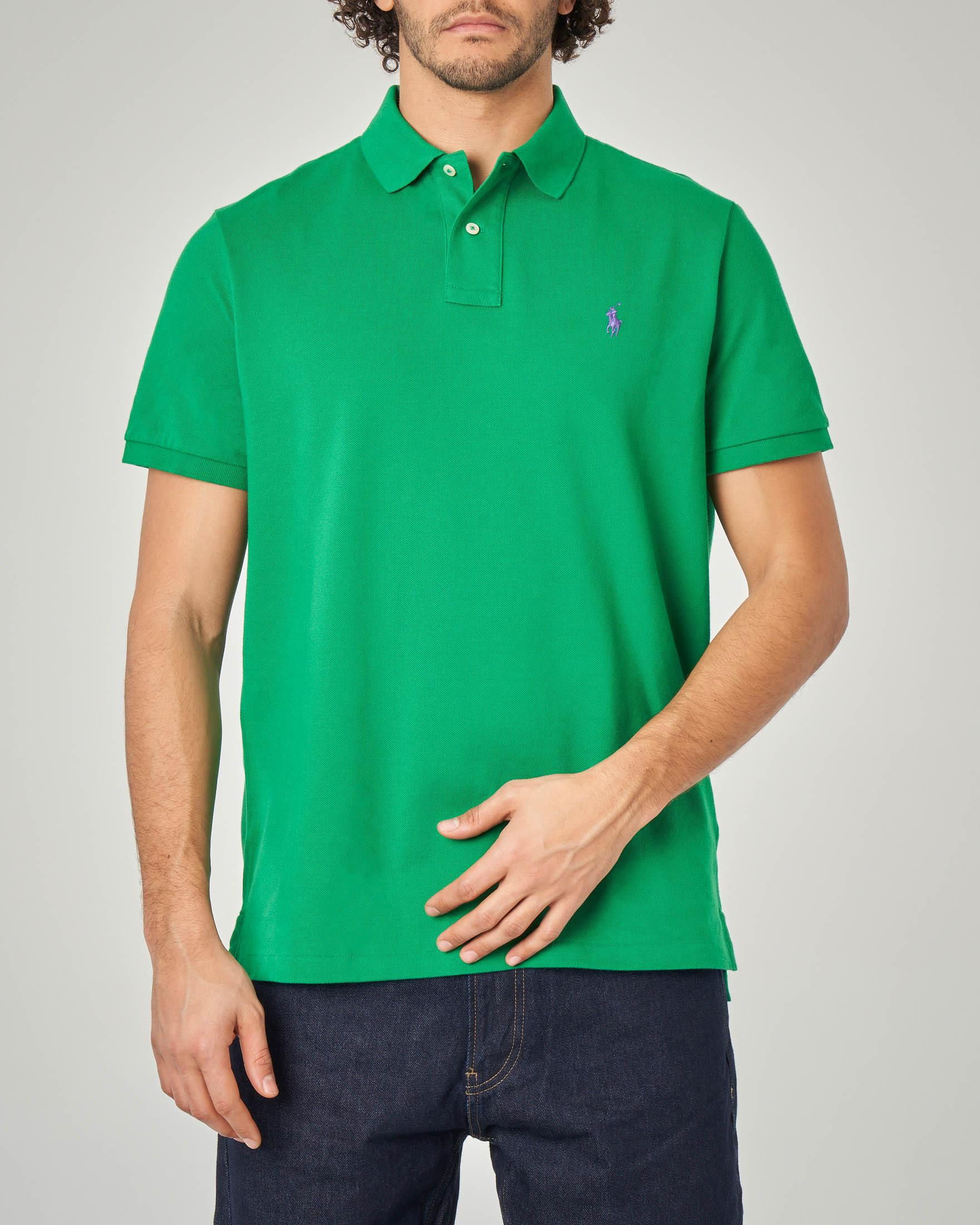 Polo verde custom slim-fit