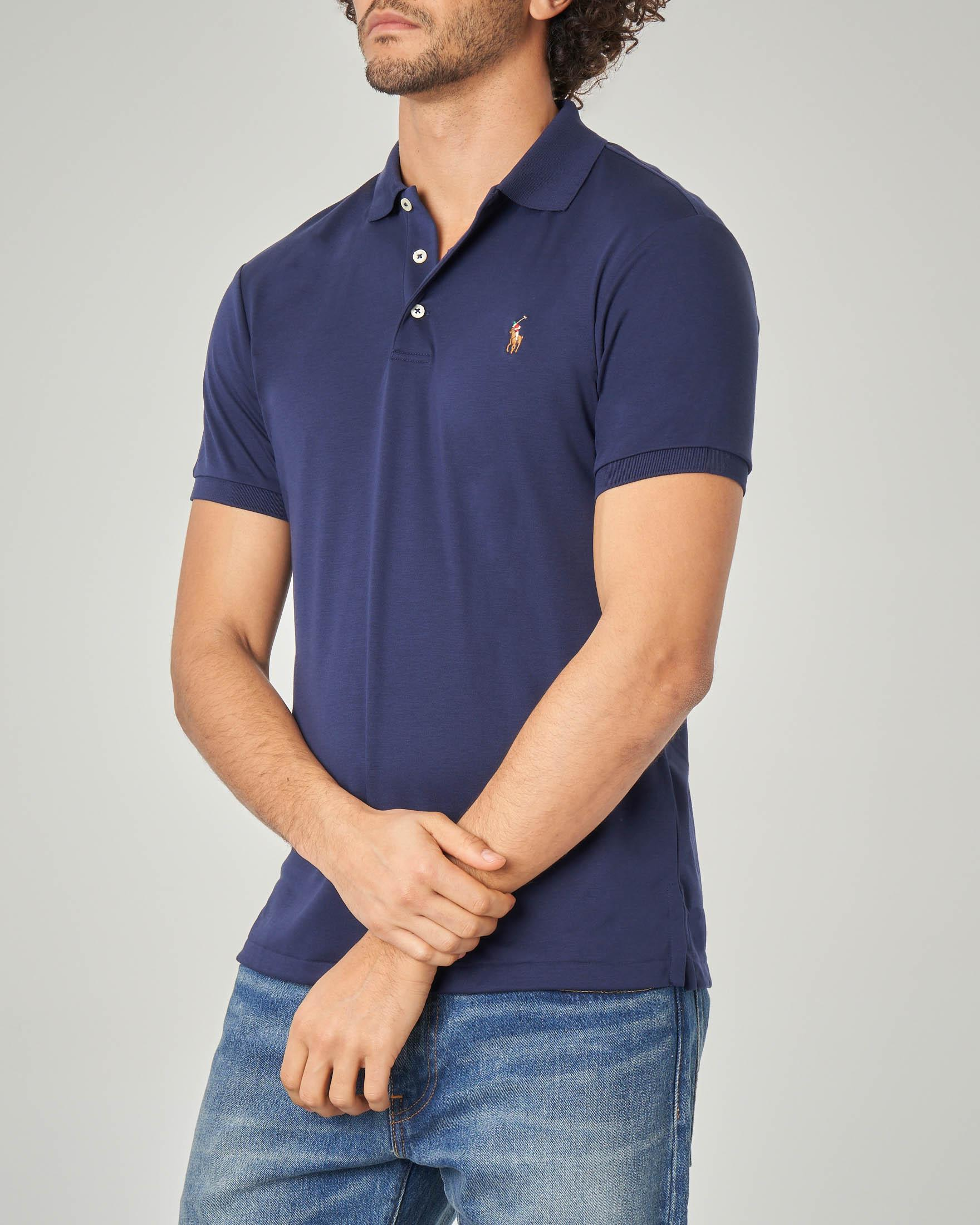 Polo blu in Pima cotton slim-fit