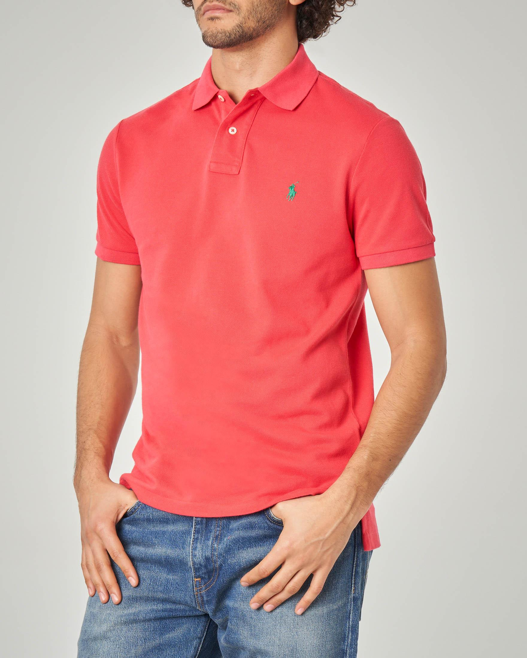 Polo corallo custom slim-fit