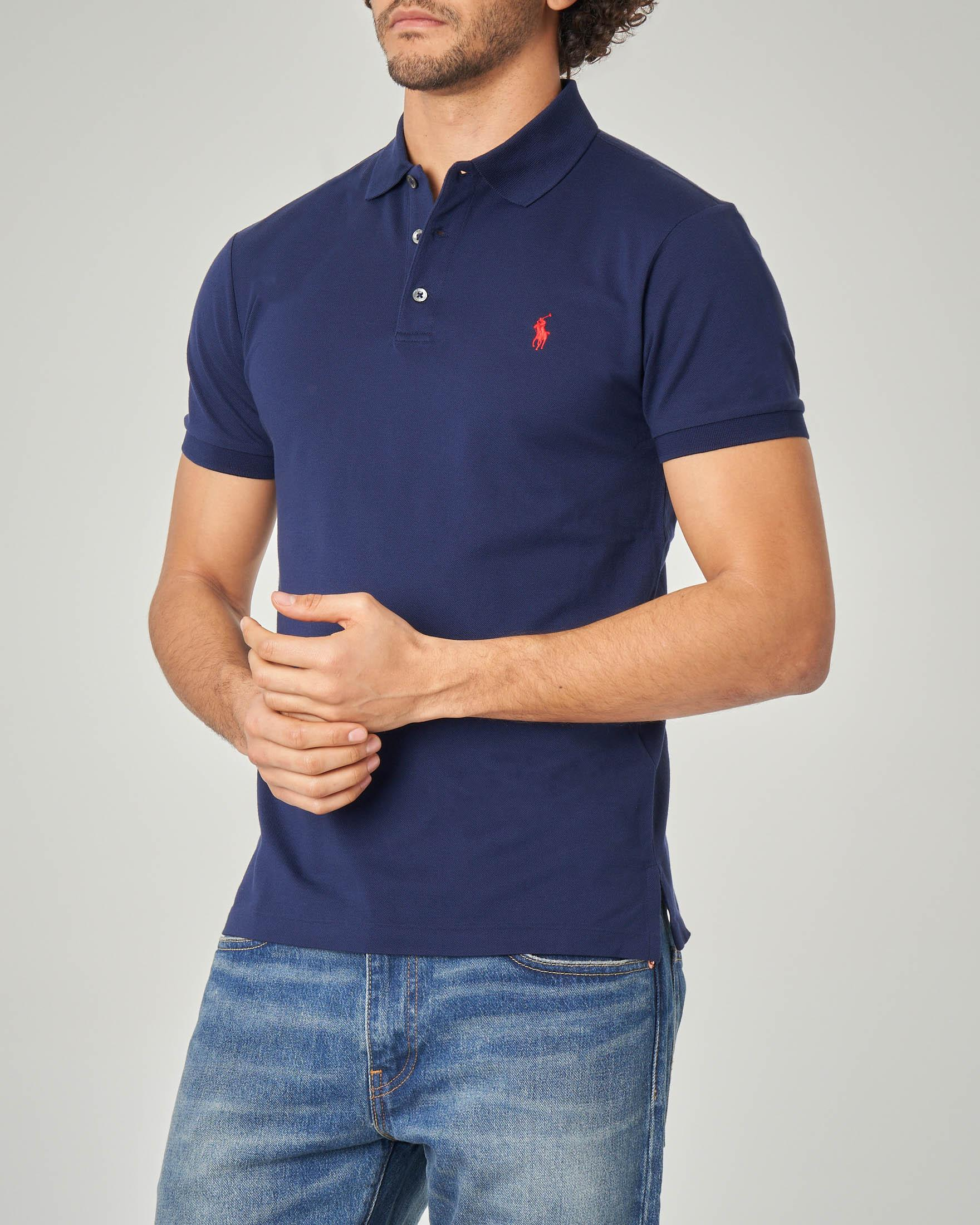 Polo blu stretch slim-fit