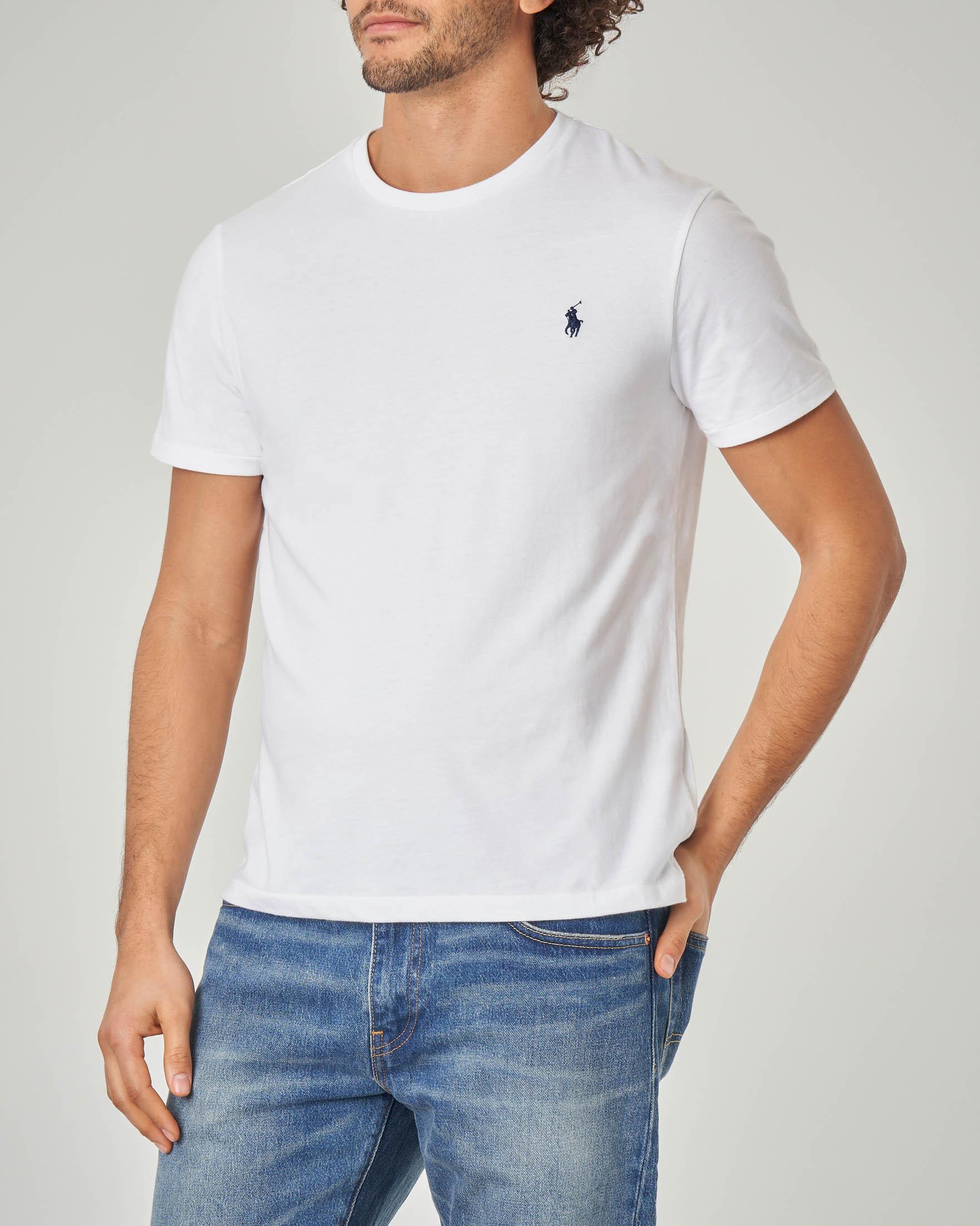 T-shirt bianca con logo blu