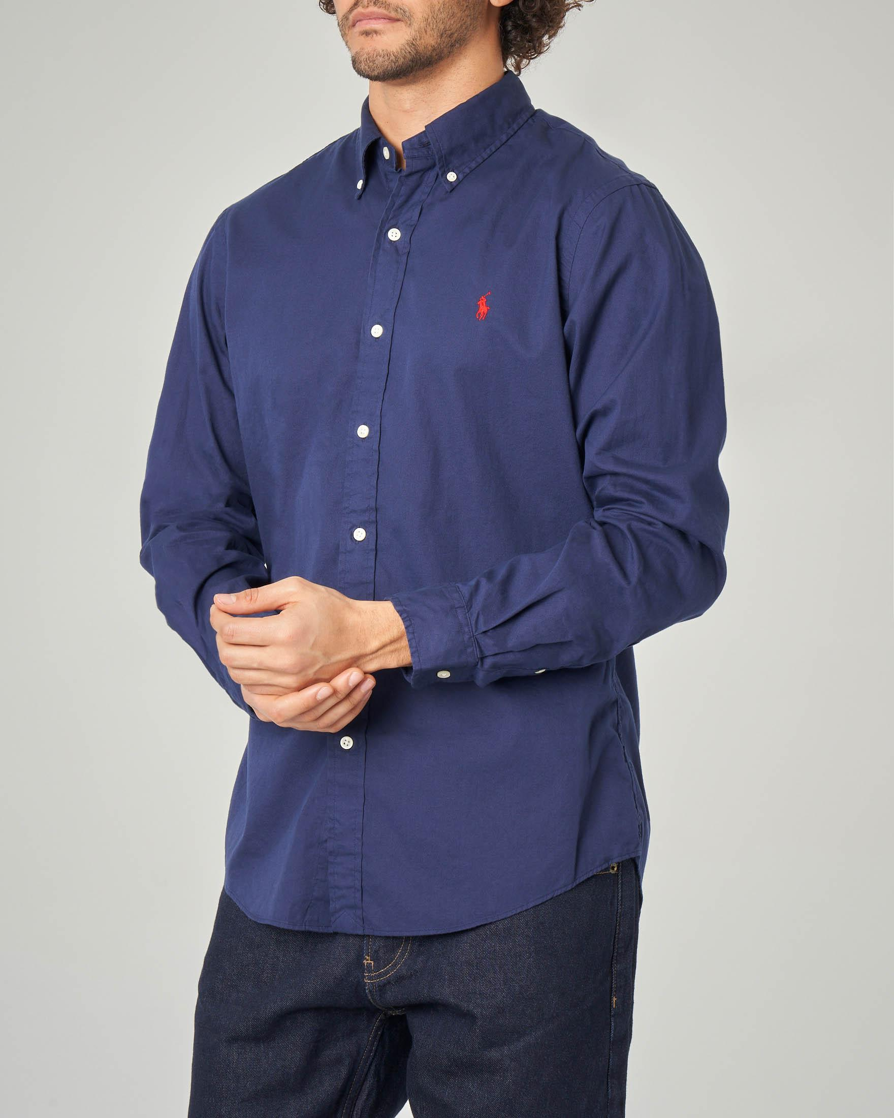 Camicia blu button down in twill di cotone