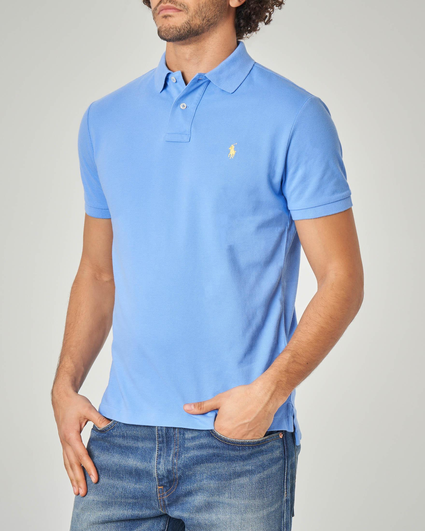 Polo azzurra stretch slim-fit