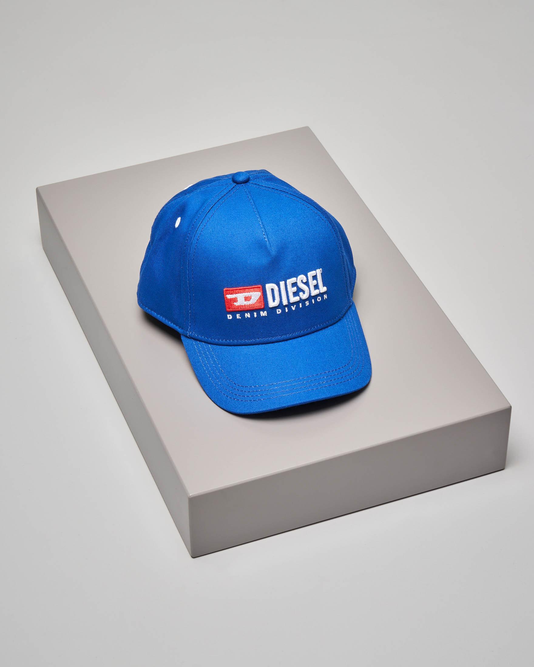 Berretto blu royal con frontino e logo vintage