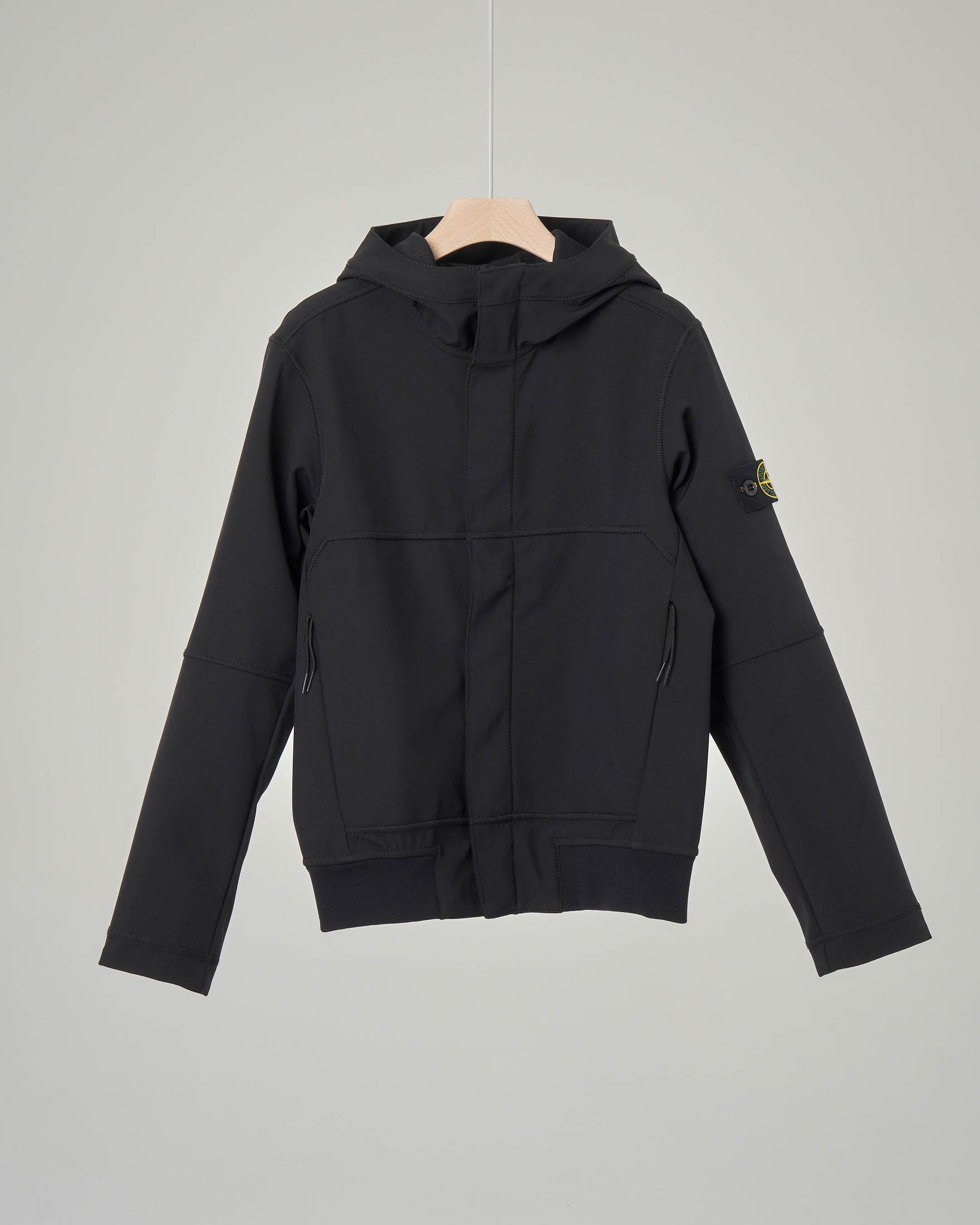 Giacca nera in Soft Shell con cappuccio 8 anni