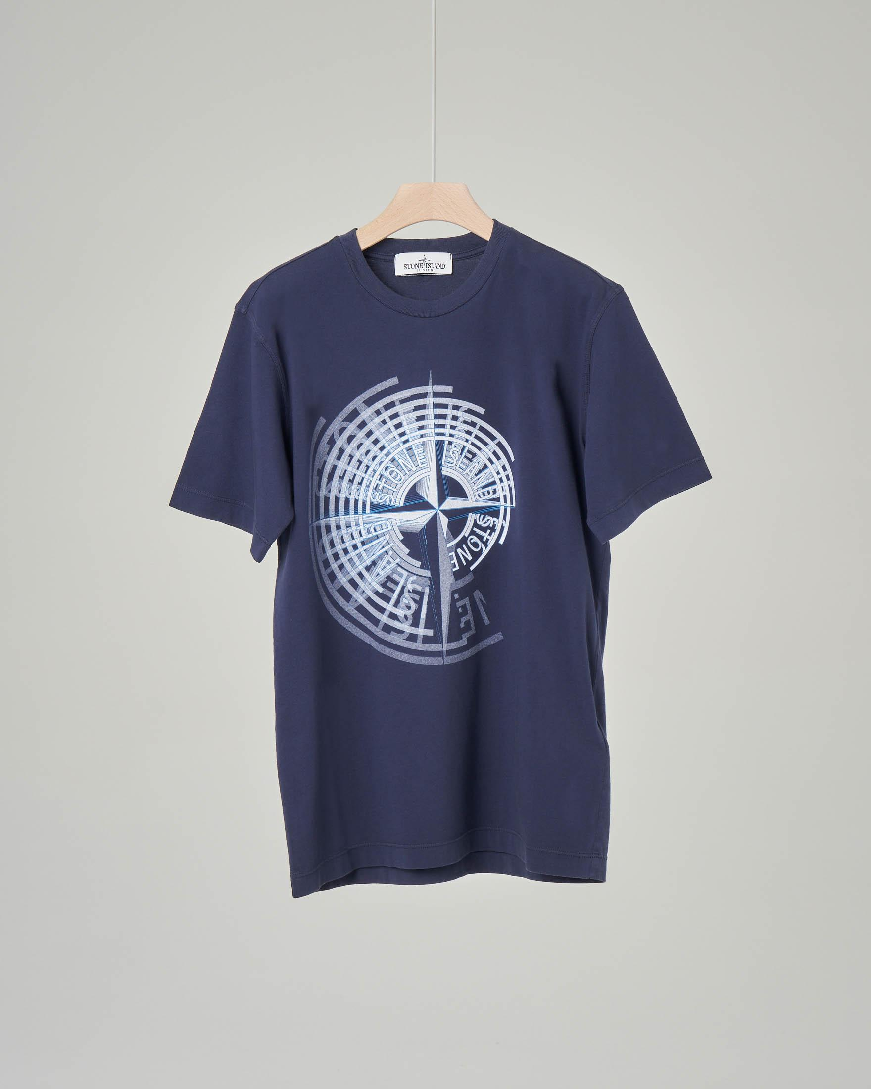 T-shirt blu con stampa rosa dei venti 10-14 anni