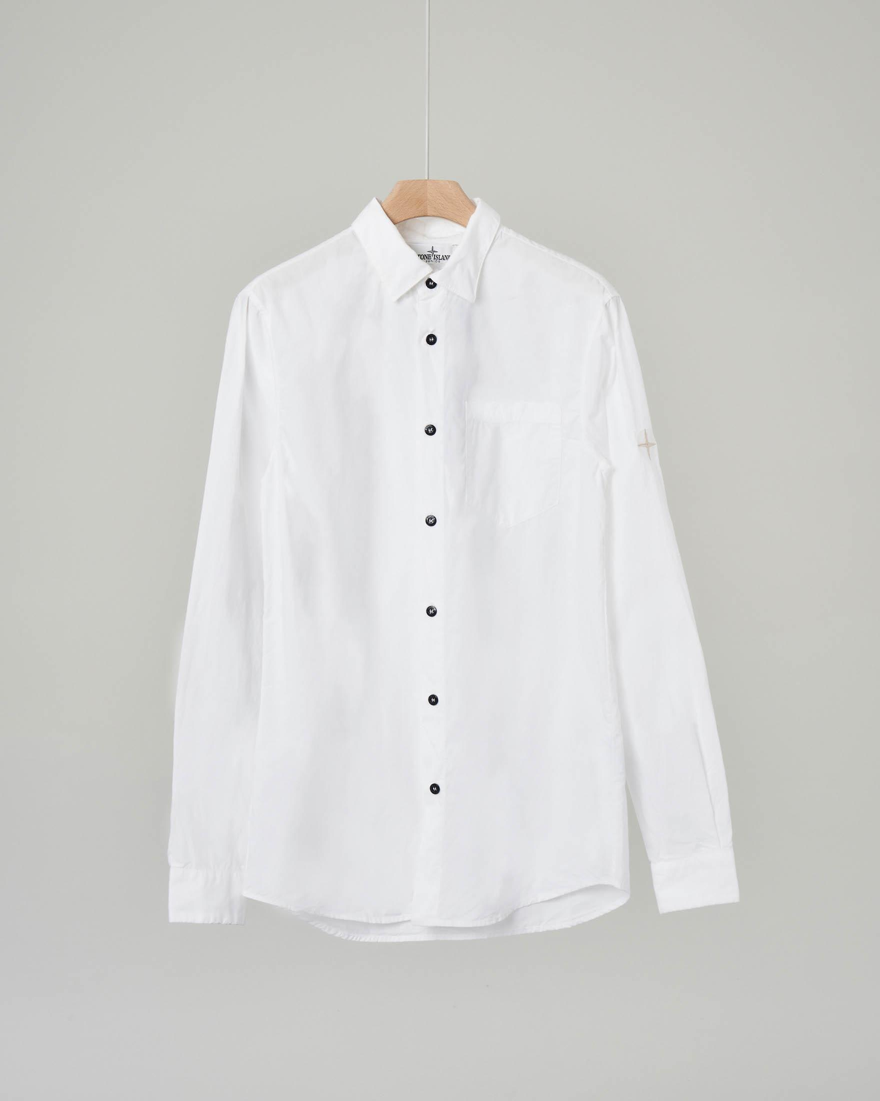 Camicia bianca in popeline con taschino