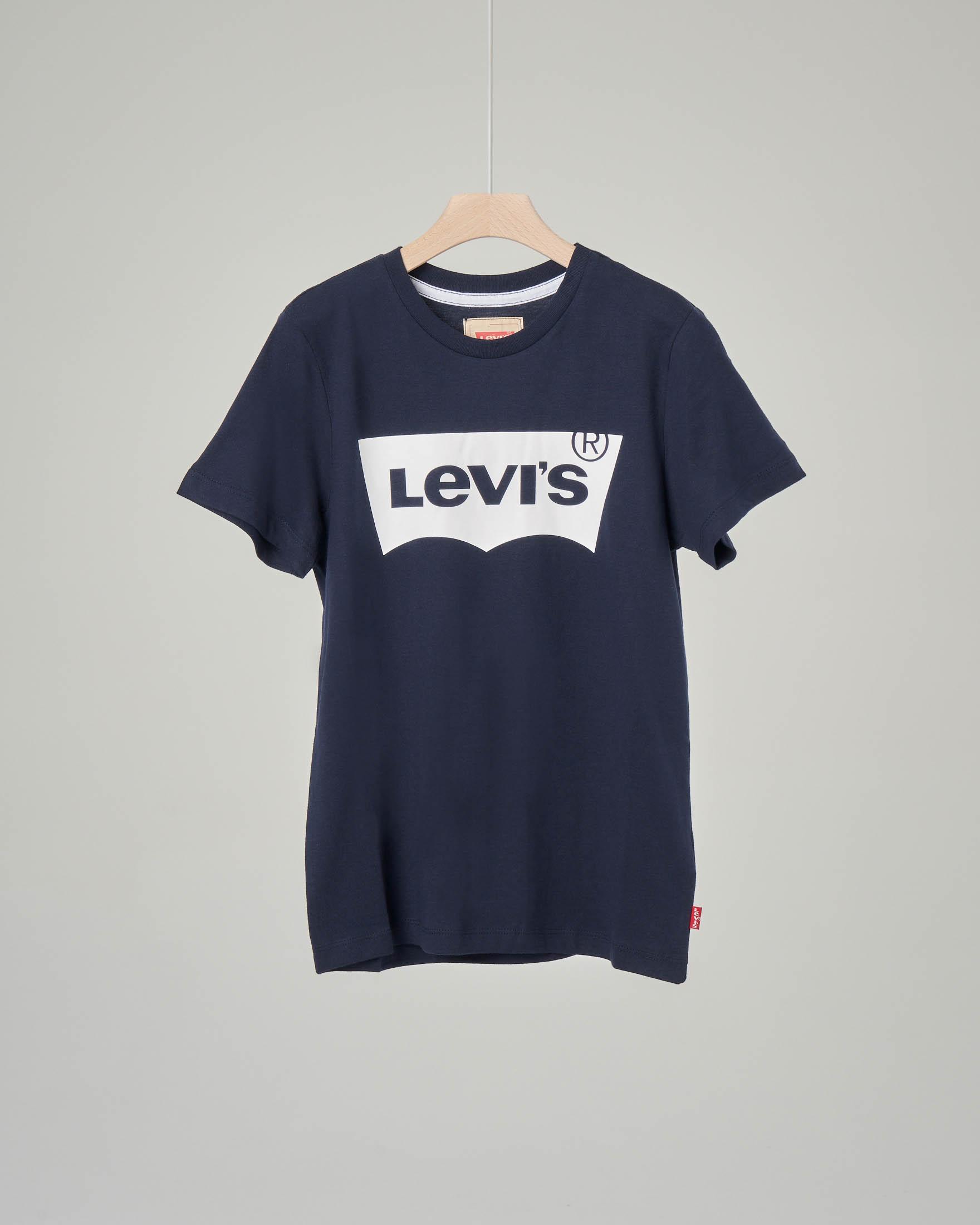 T-shirt blu con logo batwing