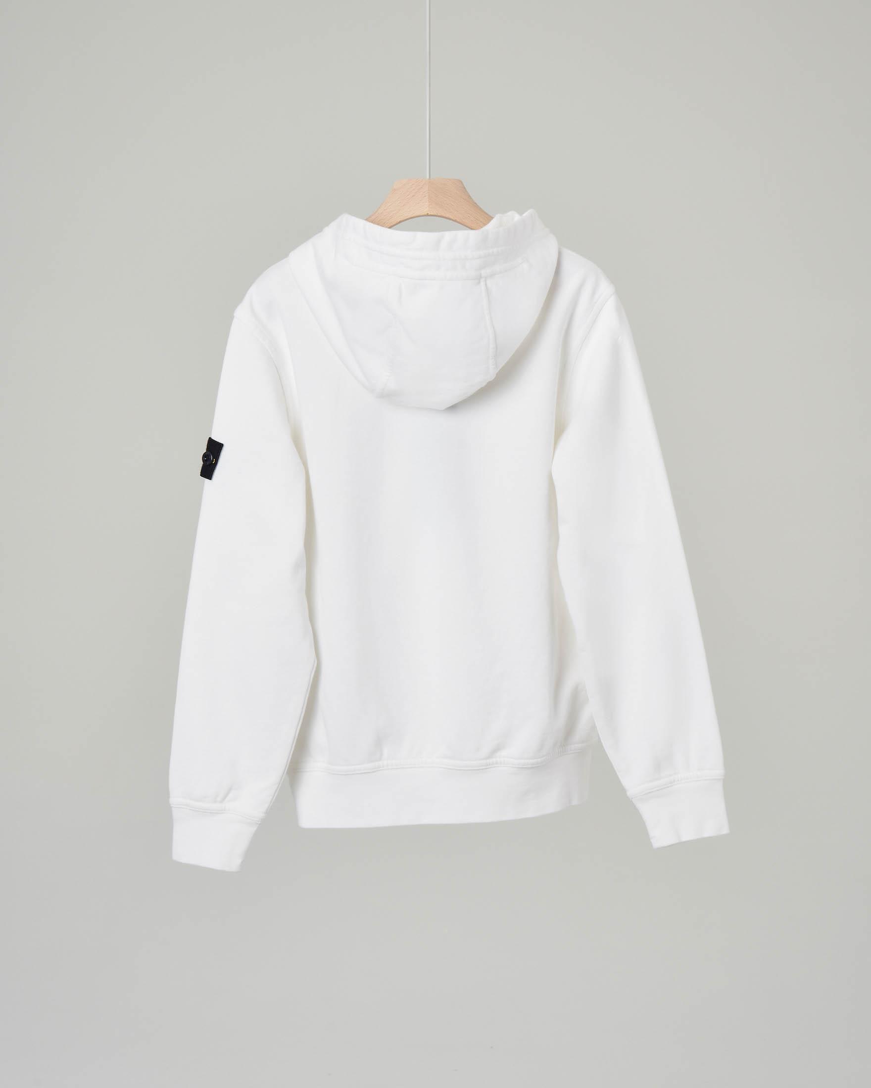 Felpa bianca con cappuccio e zip diagonale 8 anni