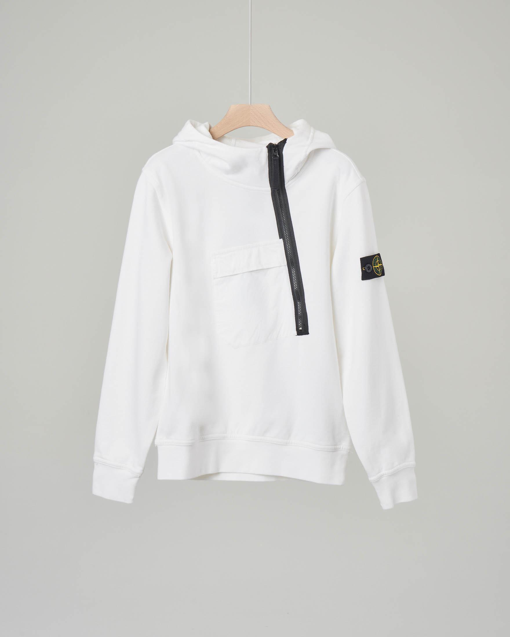 Felpa bianca con cappuccio e zip diagonale 10-14 anni