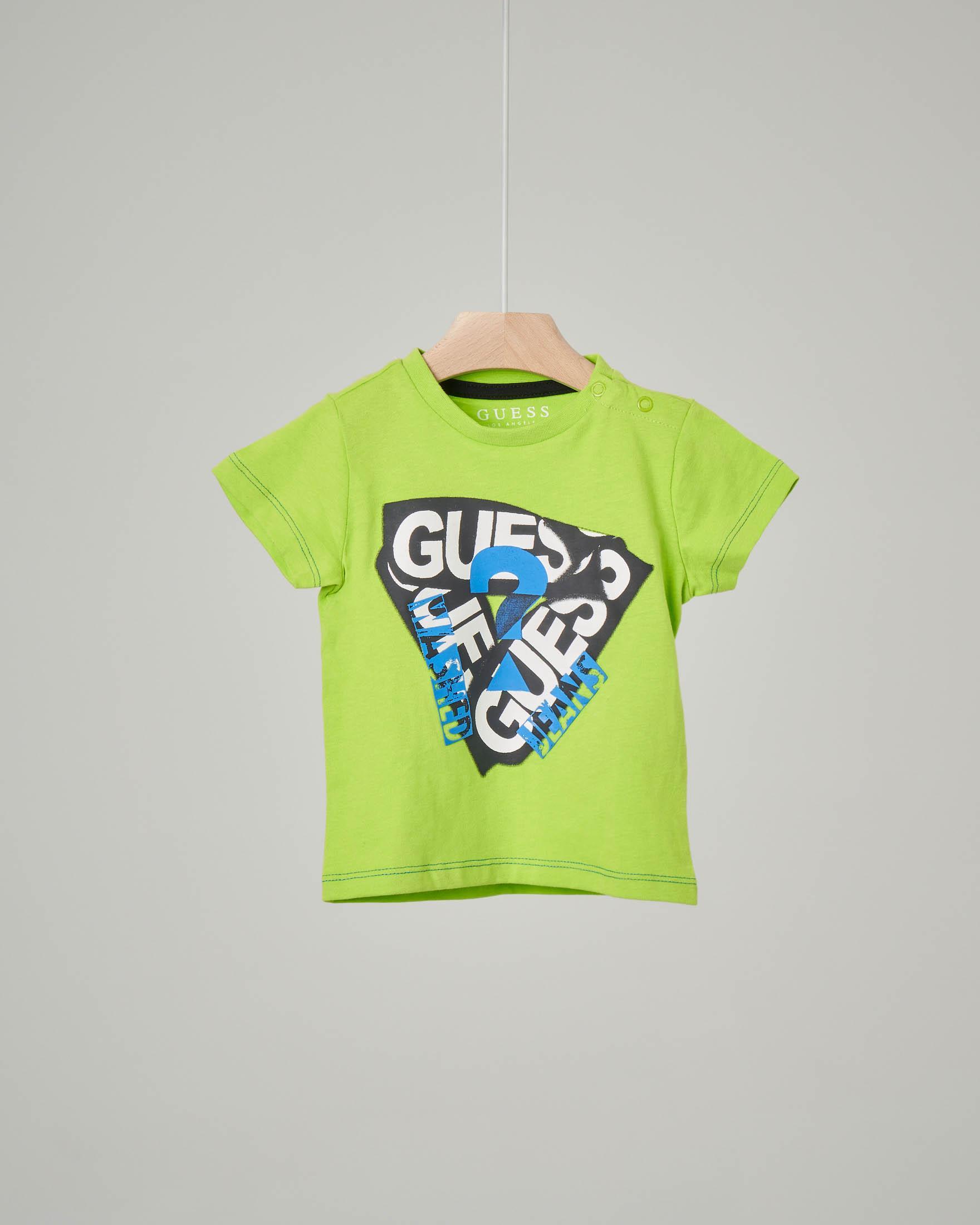 T-shirt verde acido con stampa logata