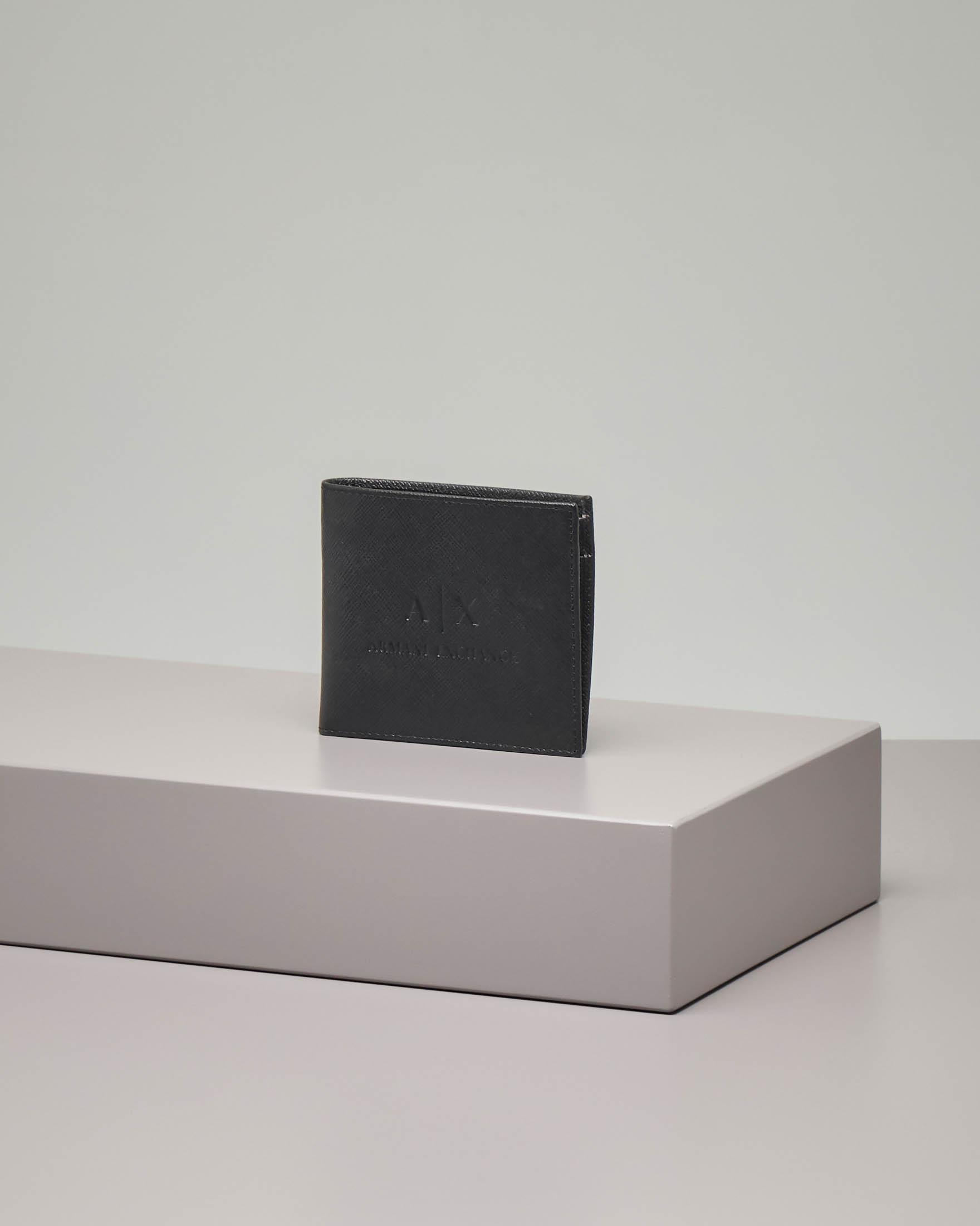 Portafoglio nero in pelle saffiano
