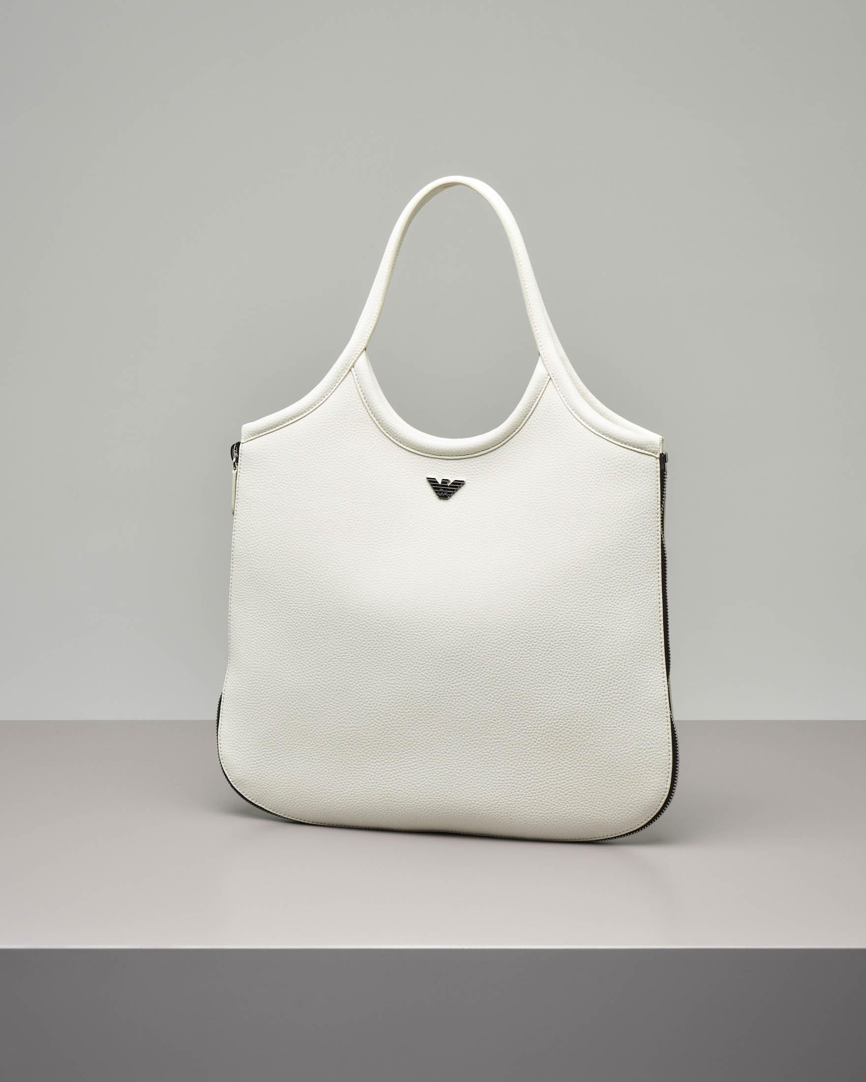 Borsa hobo in pelle color latte
