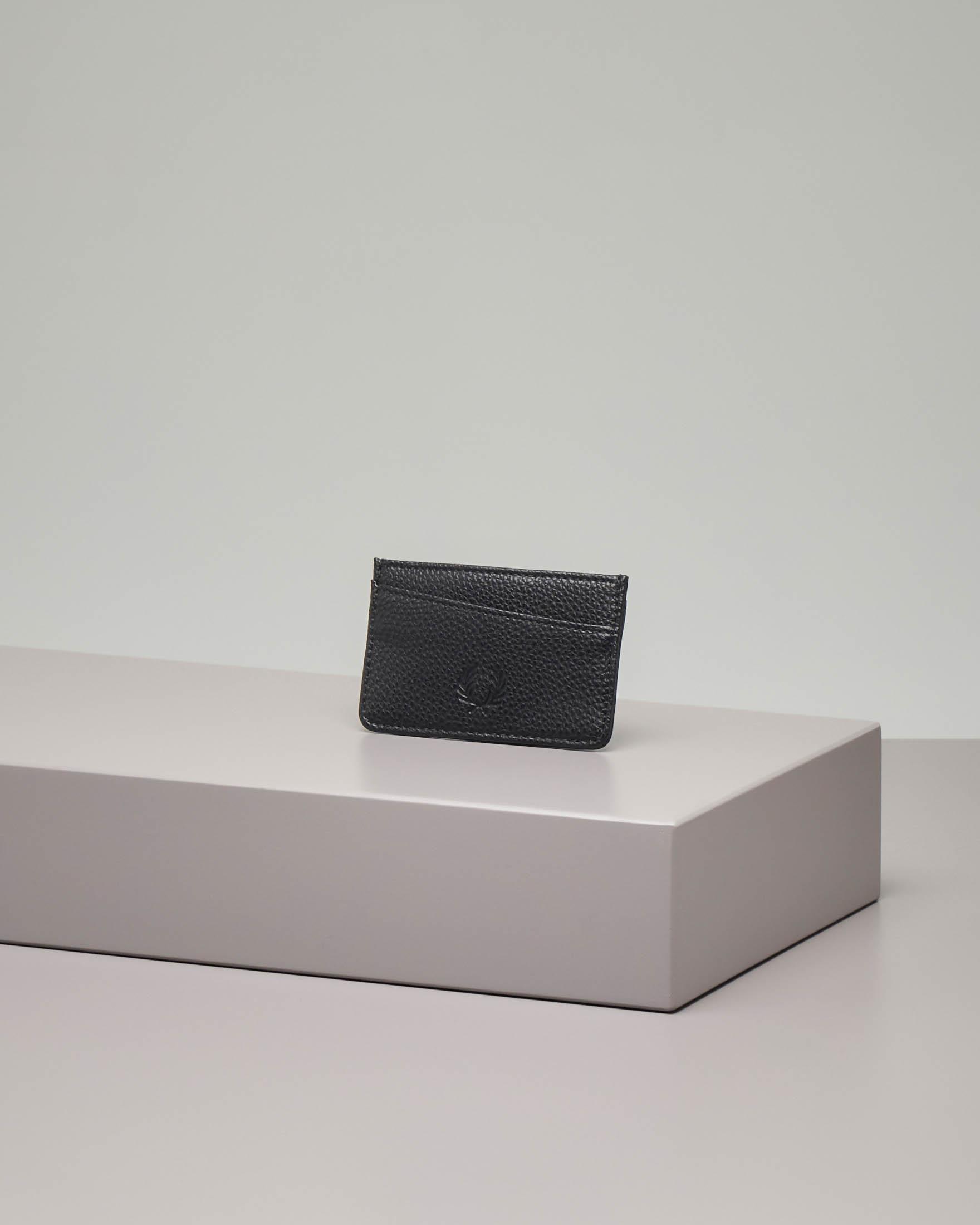 Portacarte nero in ecopelle martellata