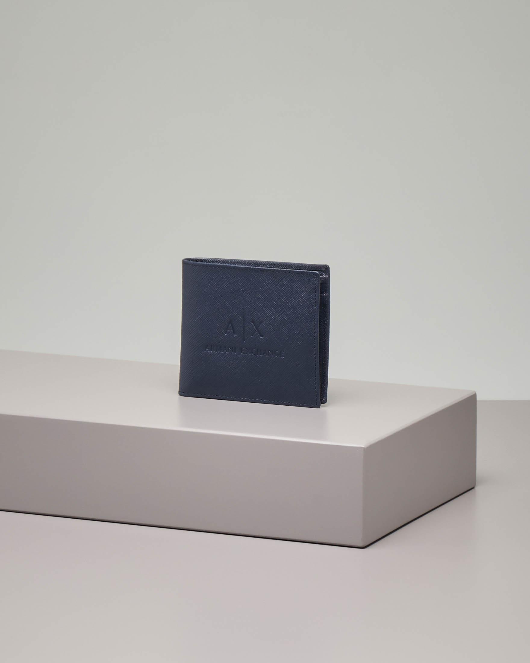 Portafoglio blu in pelle saffiano