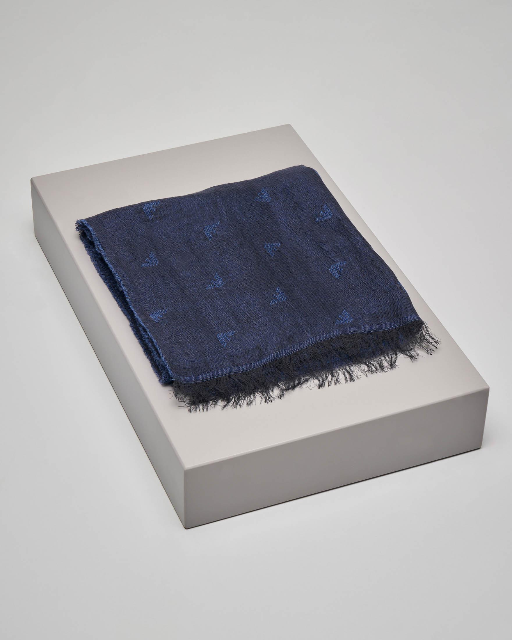 Sciarpa blu in cotone e modal