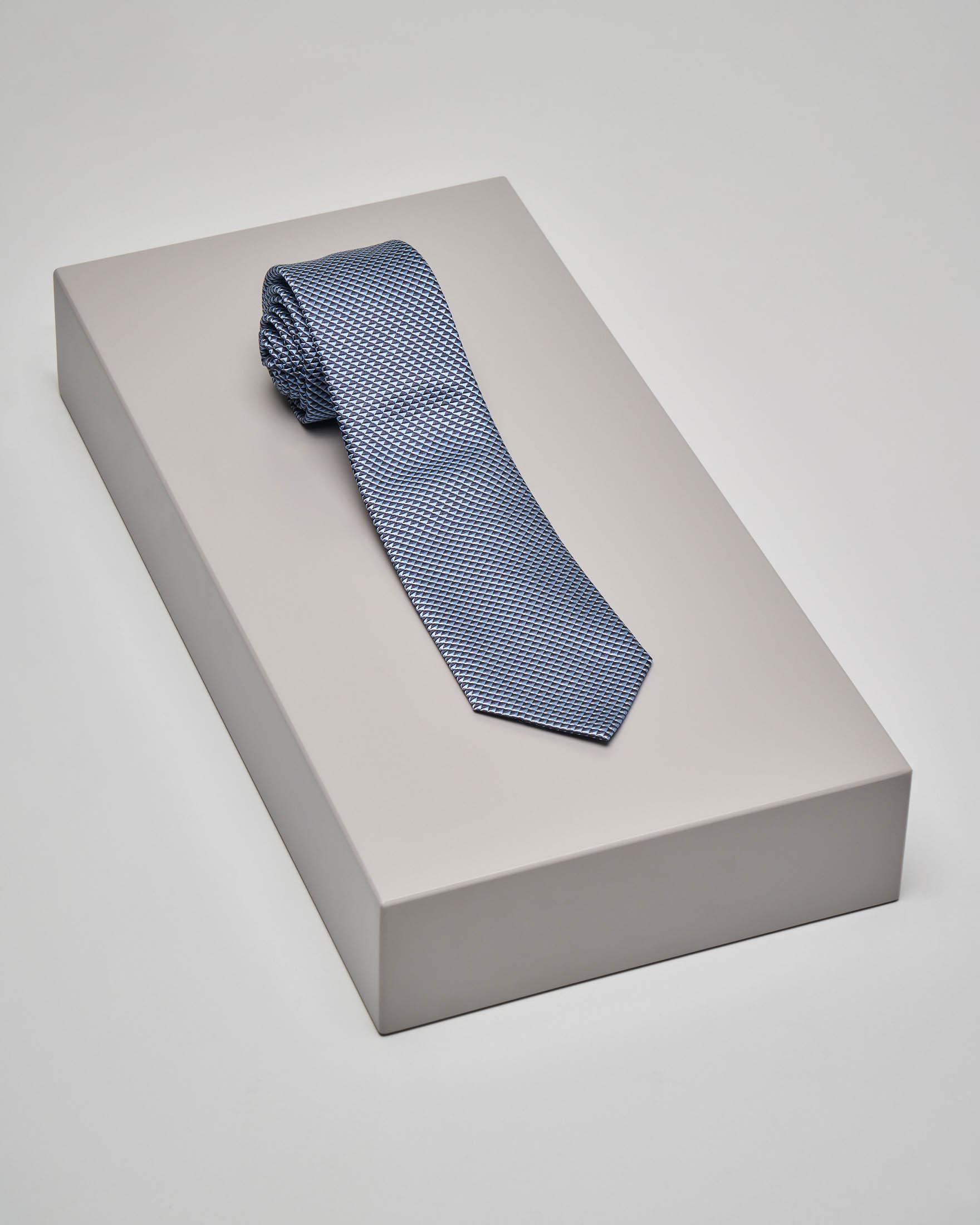 Cravatta indaco fantasia micro-disegno