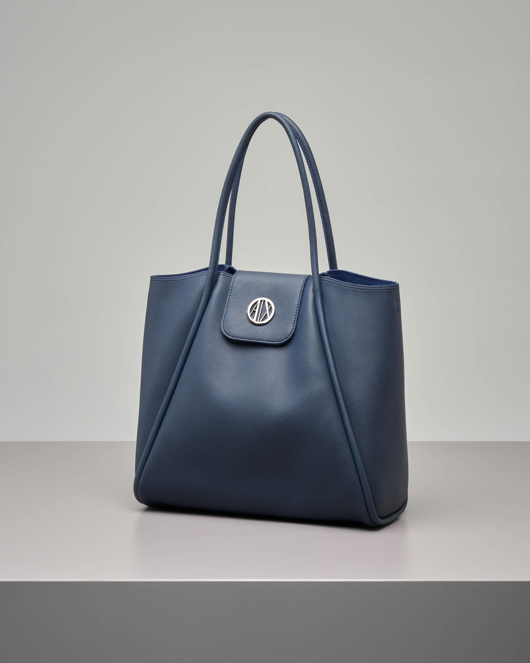 Shopping bag morbida blu misura media · Armani Exchange 1abe17a215b