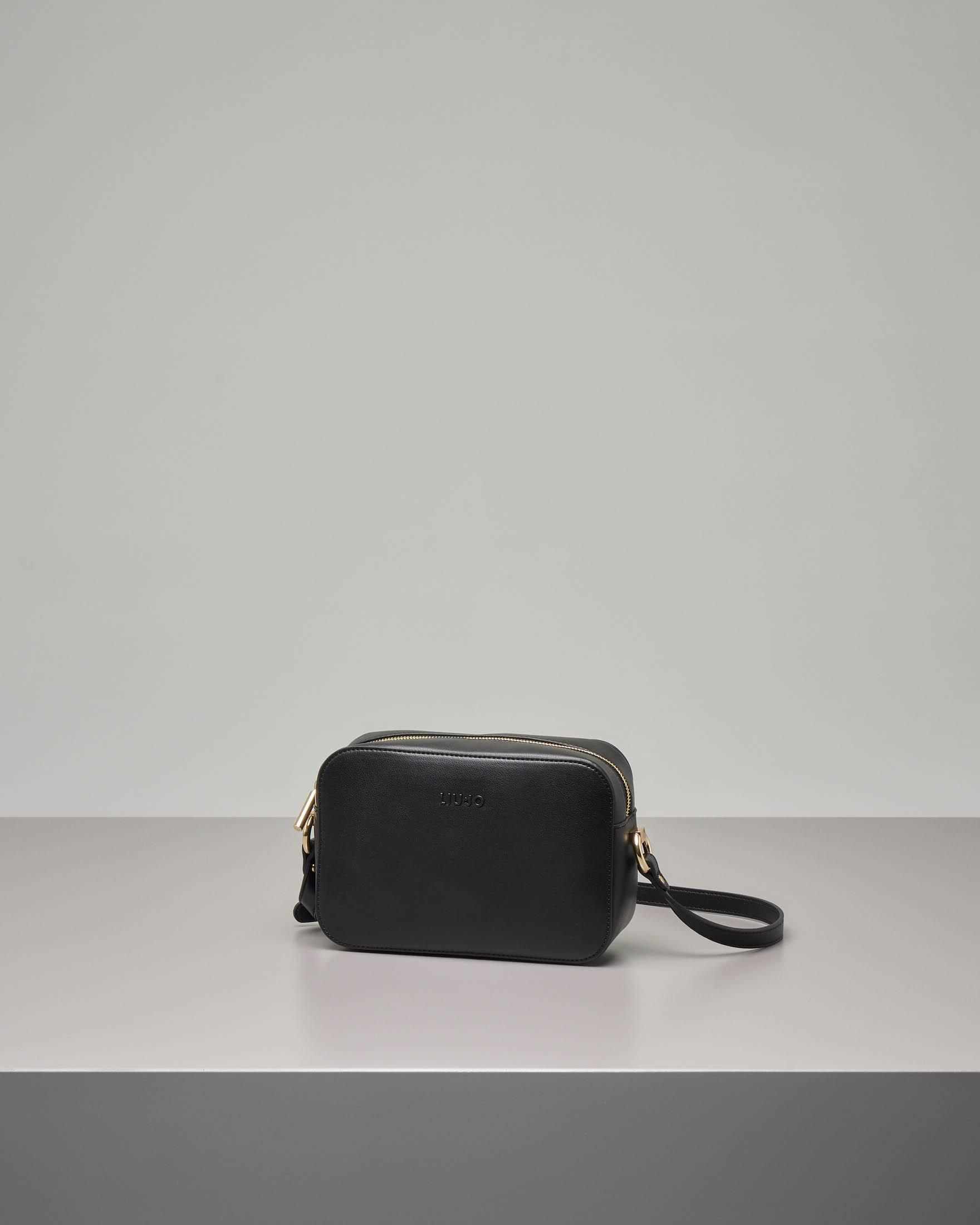 Cross bag nera in ecopelle effetto liscio