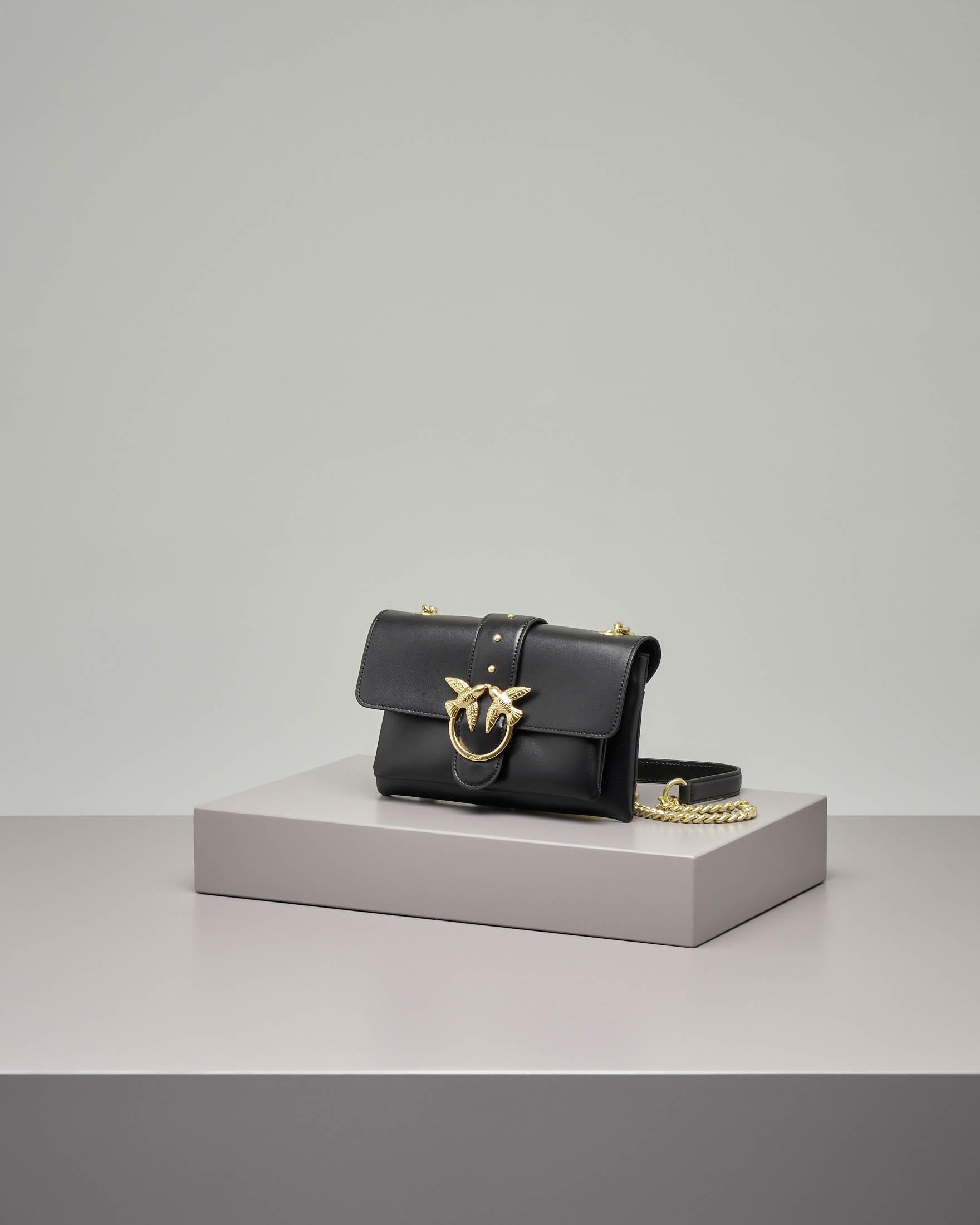 Mini Love bag soft nera in vera pelle