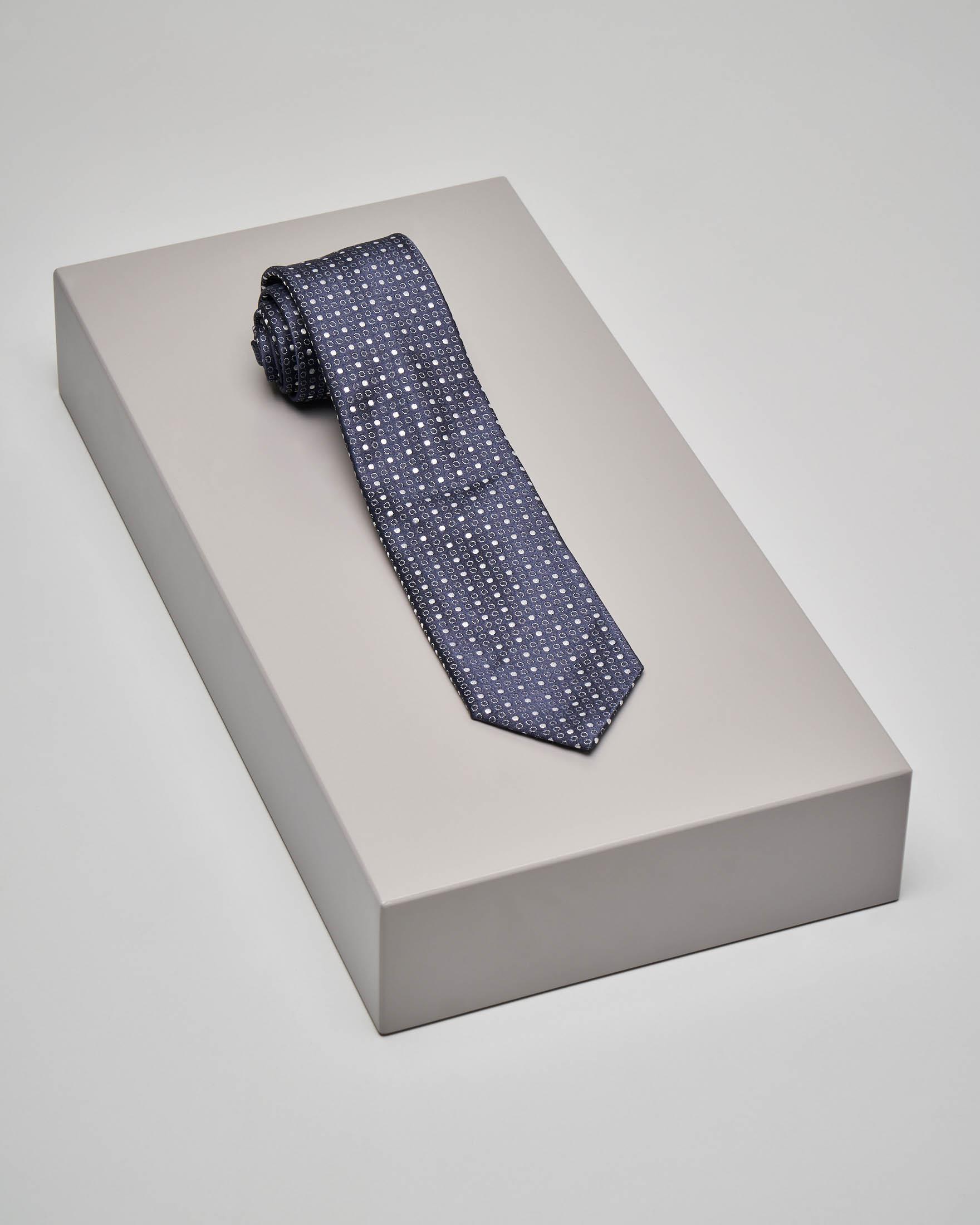 Cravatta blu micro-disegno pois