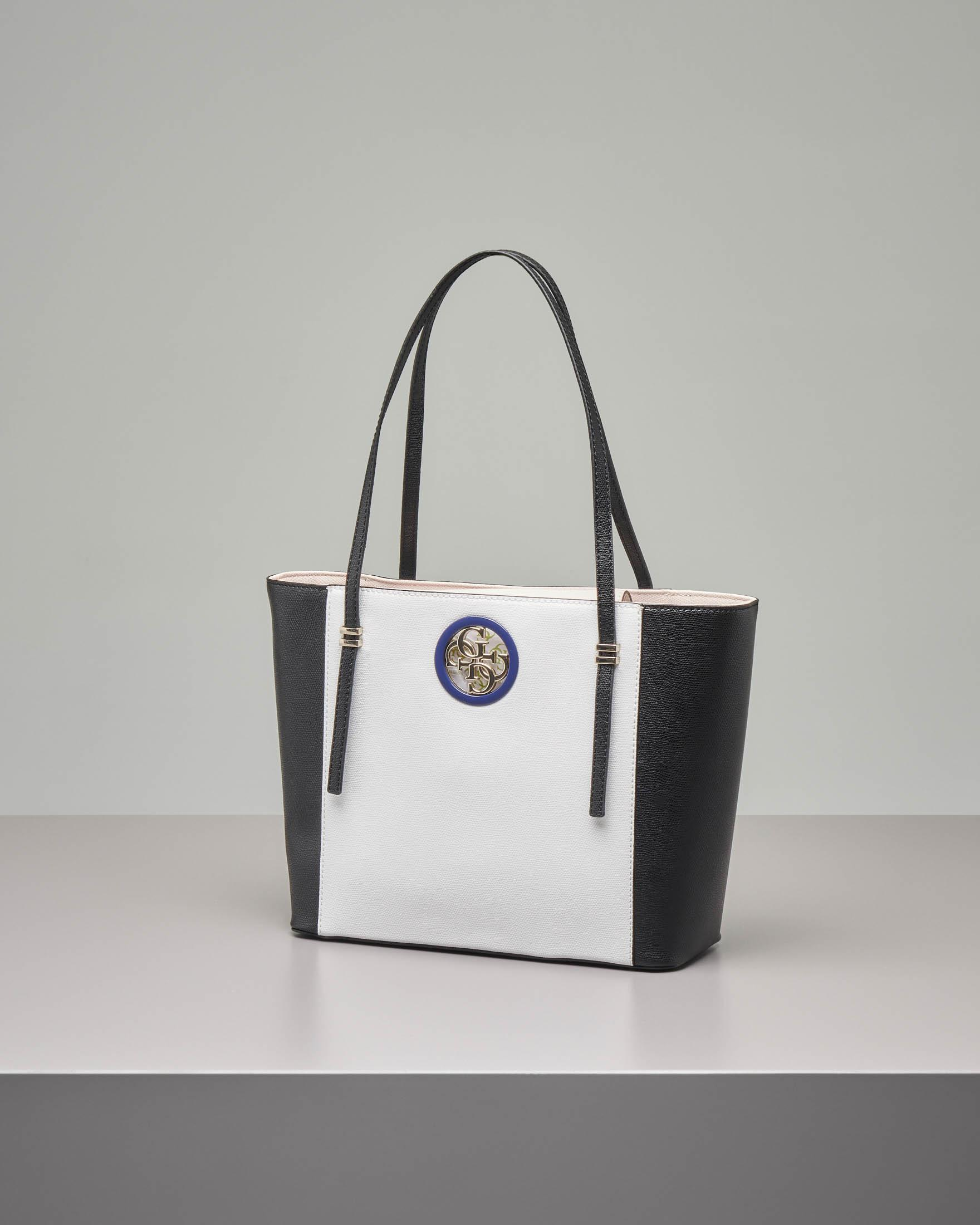 Shopping bag bicolore con logo