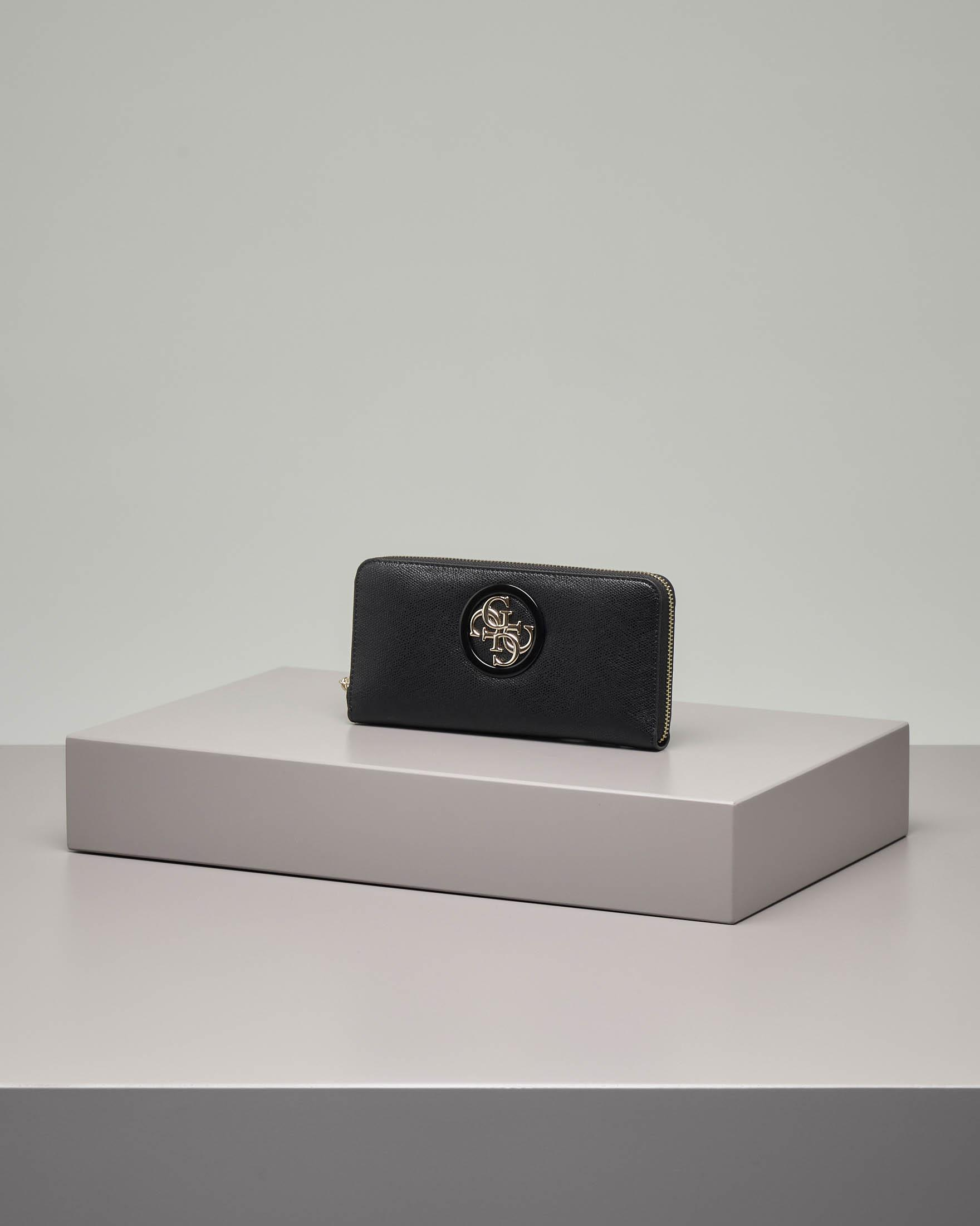 Portafoglio in ecopelle colore nero misura grande con cerniera