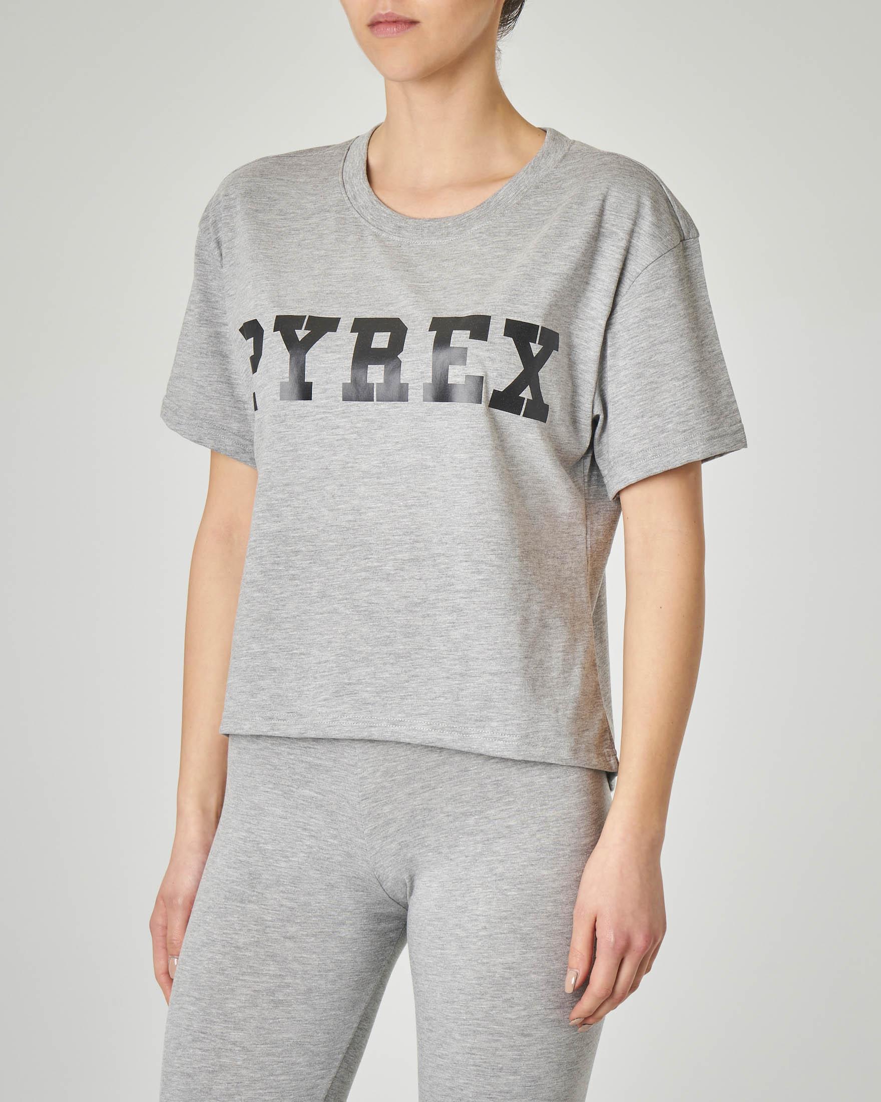 T-shirt grigia cropped con logo stampato nero