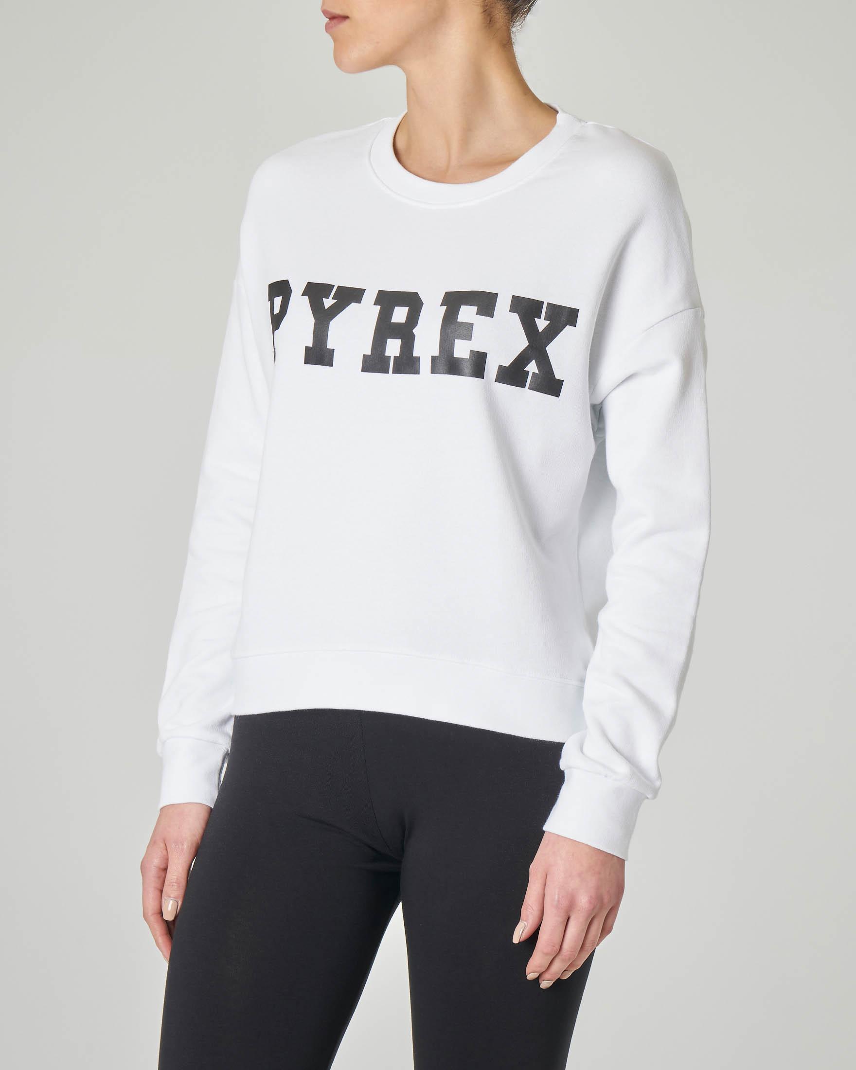 Felpa girocollo bianca in jersey di cotone con logo nero