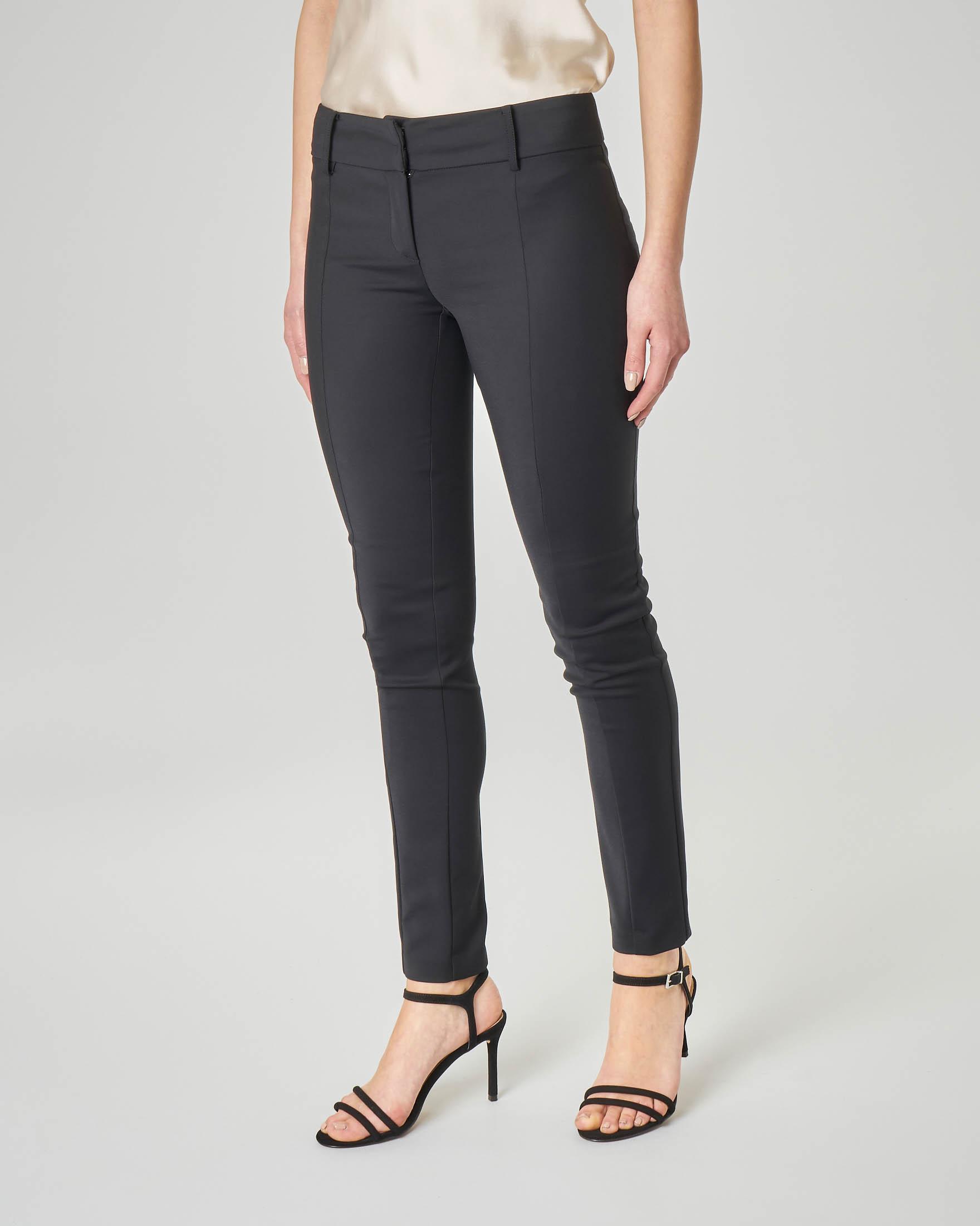 Pantaloni a sigaretta neri in cotone elasticizzato