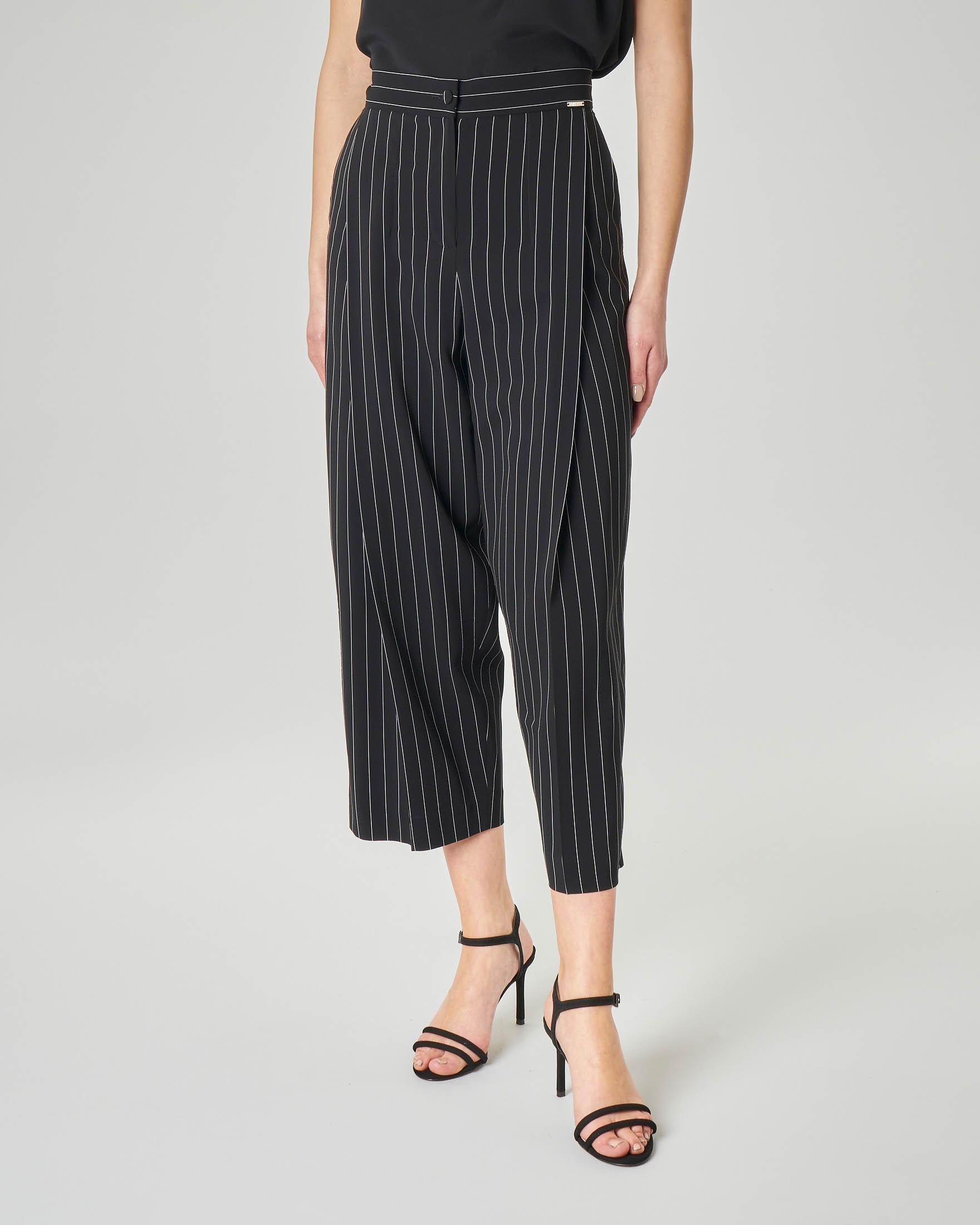 Pantalone culotte gessato