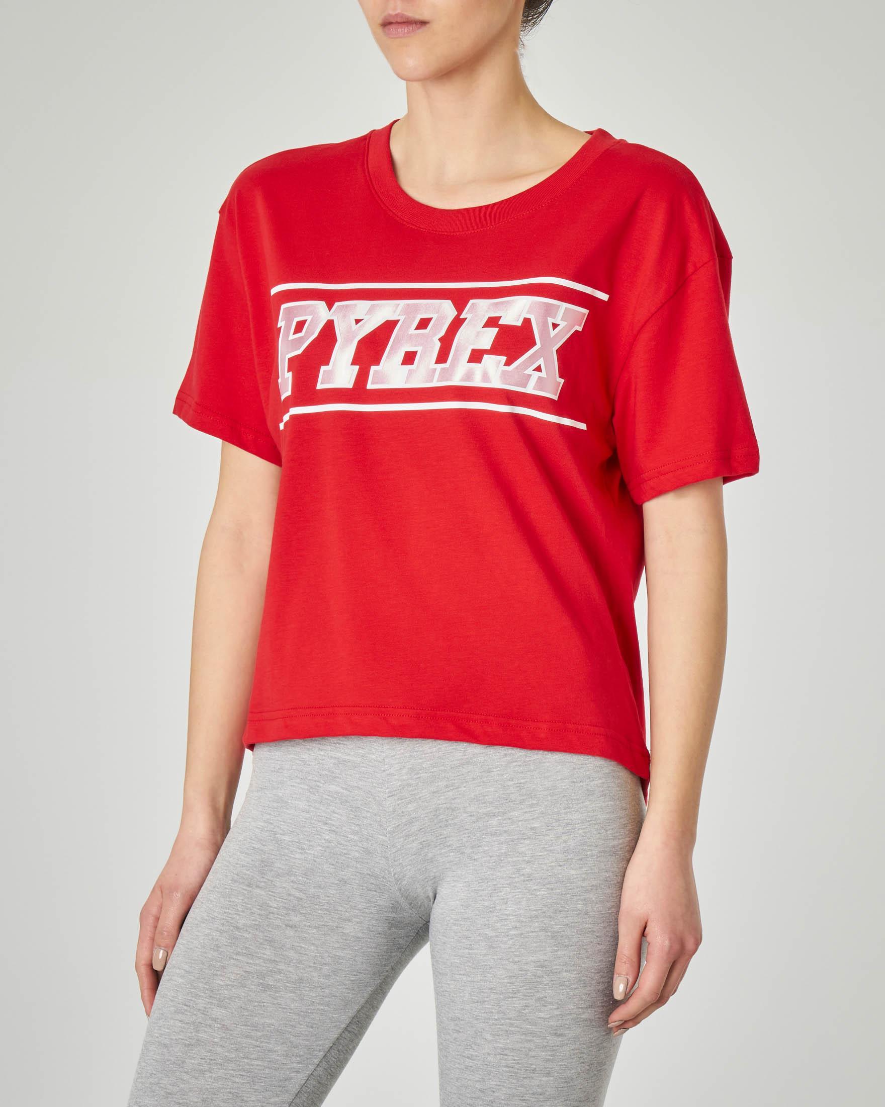 T-shirt rossa cropped con logo glitter effetto lucido
