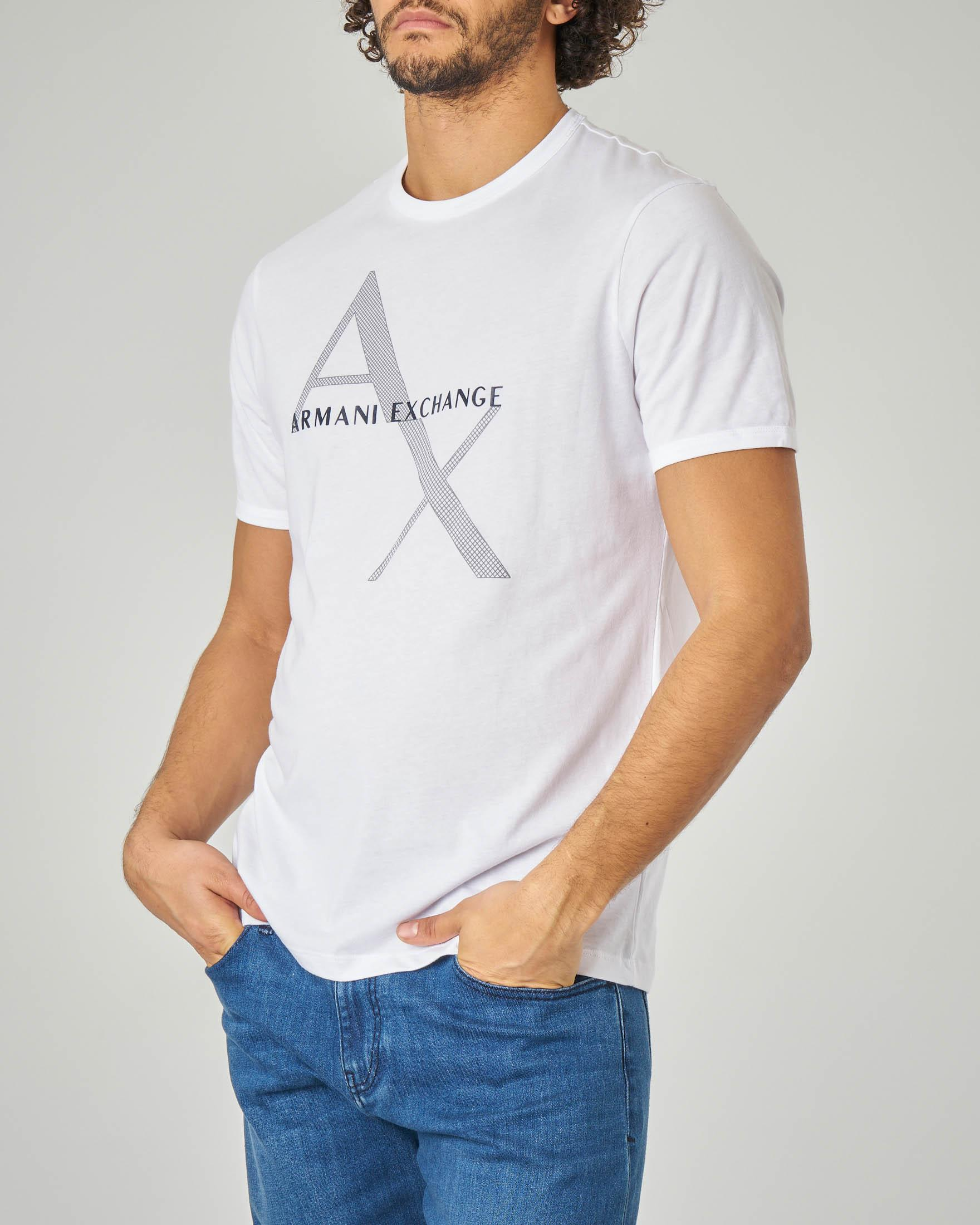 T-shirt bianca con logo rete