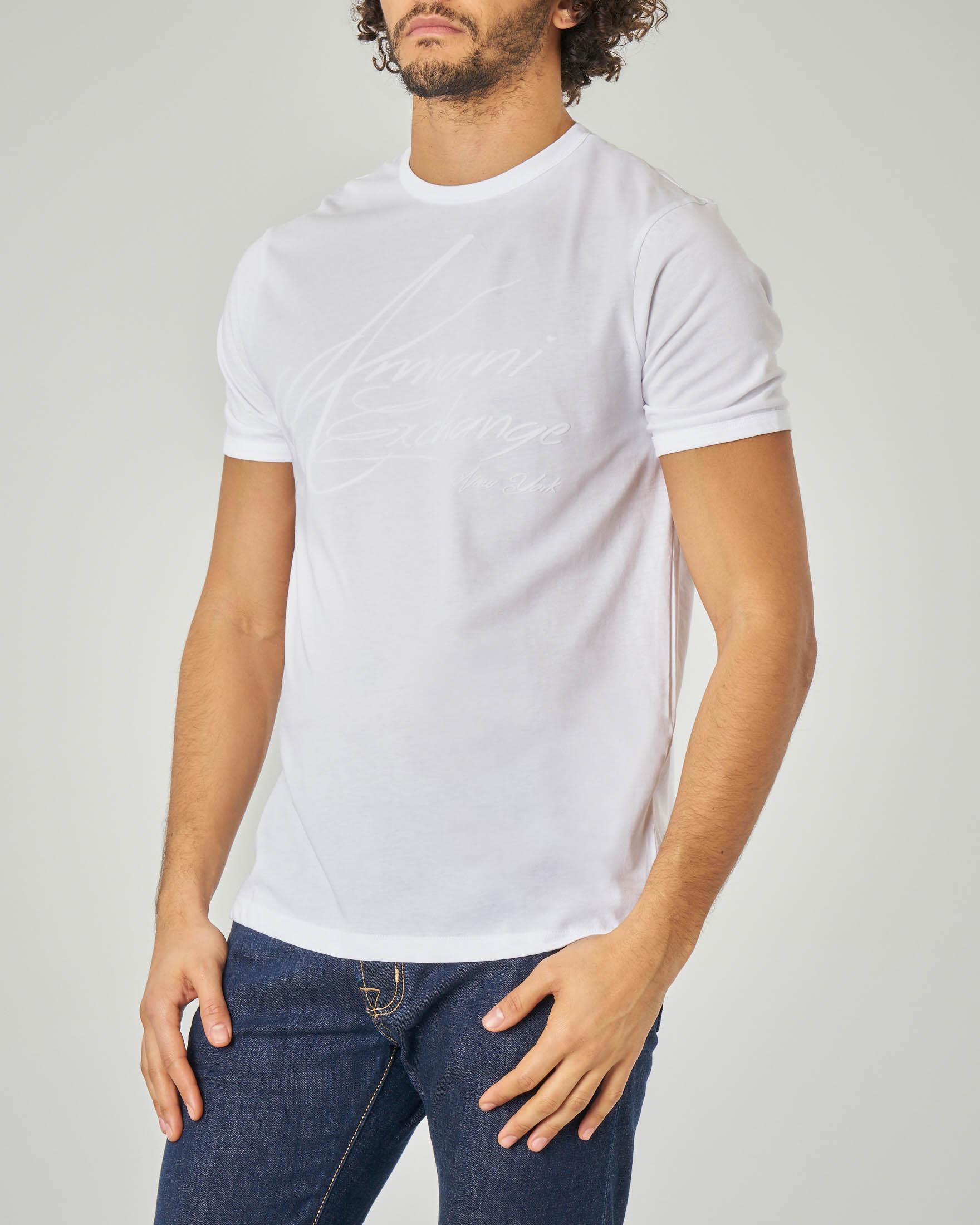 T-shirt bianca con logo firmato