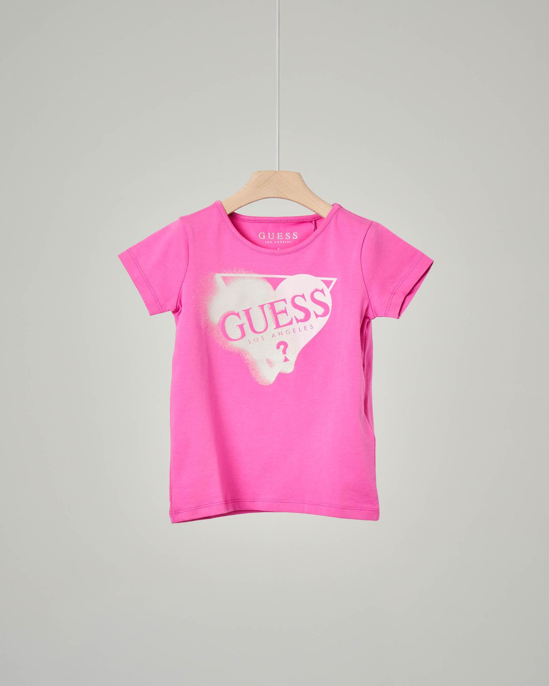 T-shirt color fucsia manica corta con logo glitter