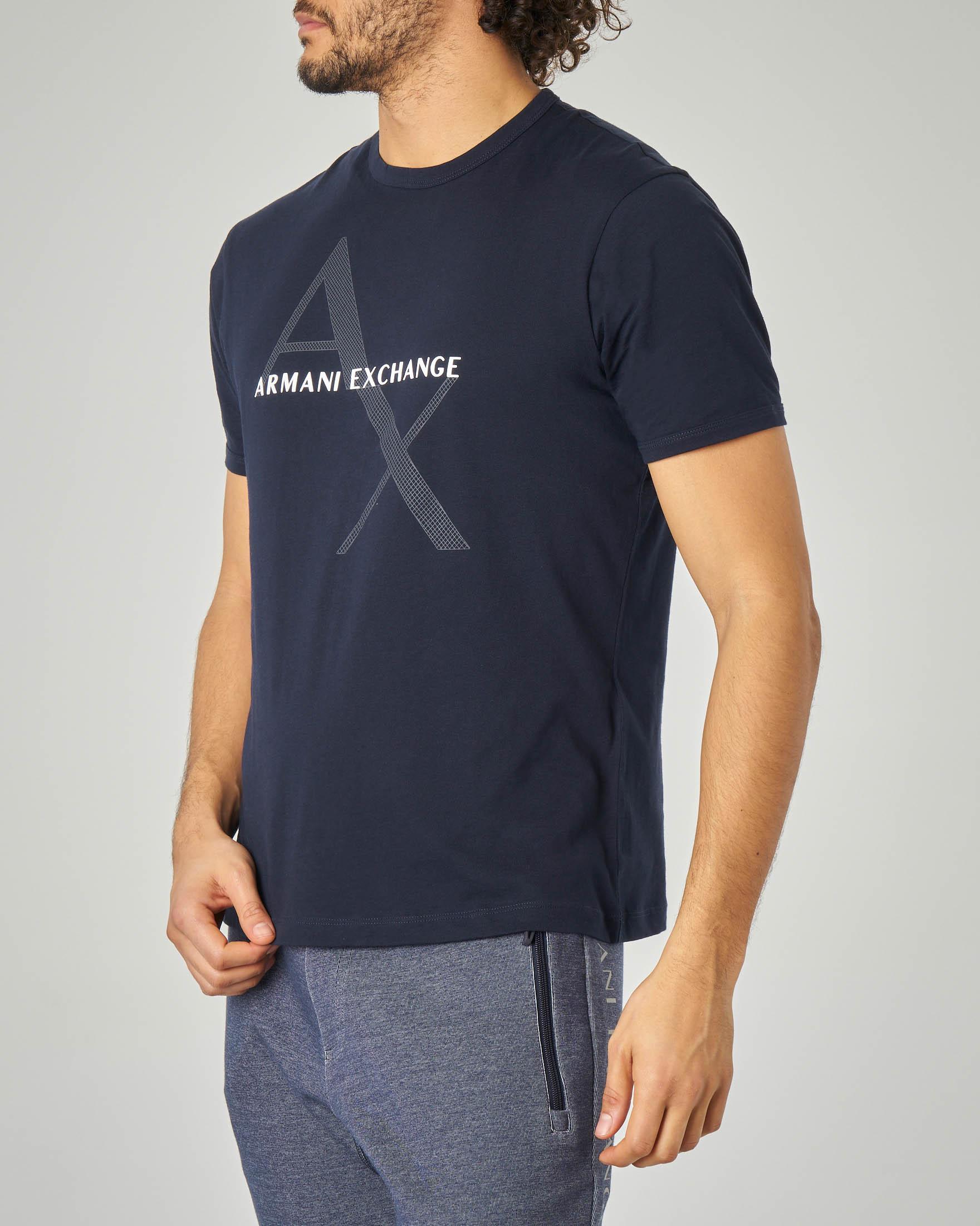 T-shirt blu con logo rete