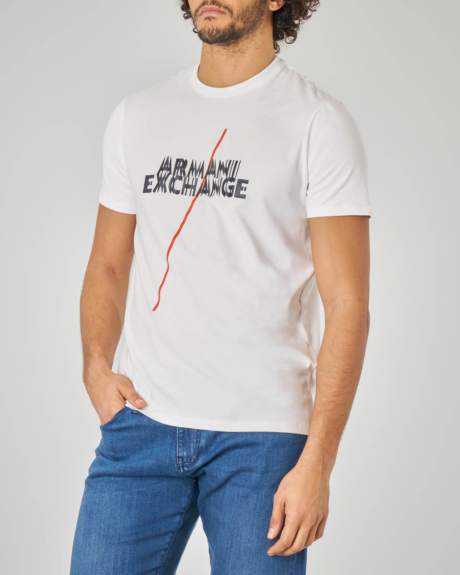 T-shirt bianca silm con logo e riga rossa