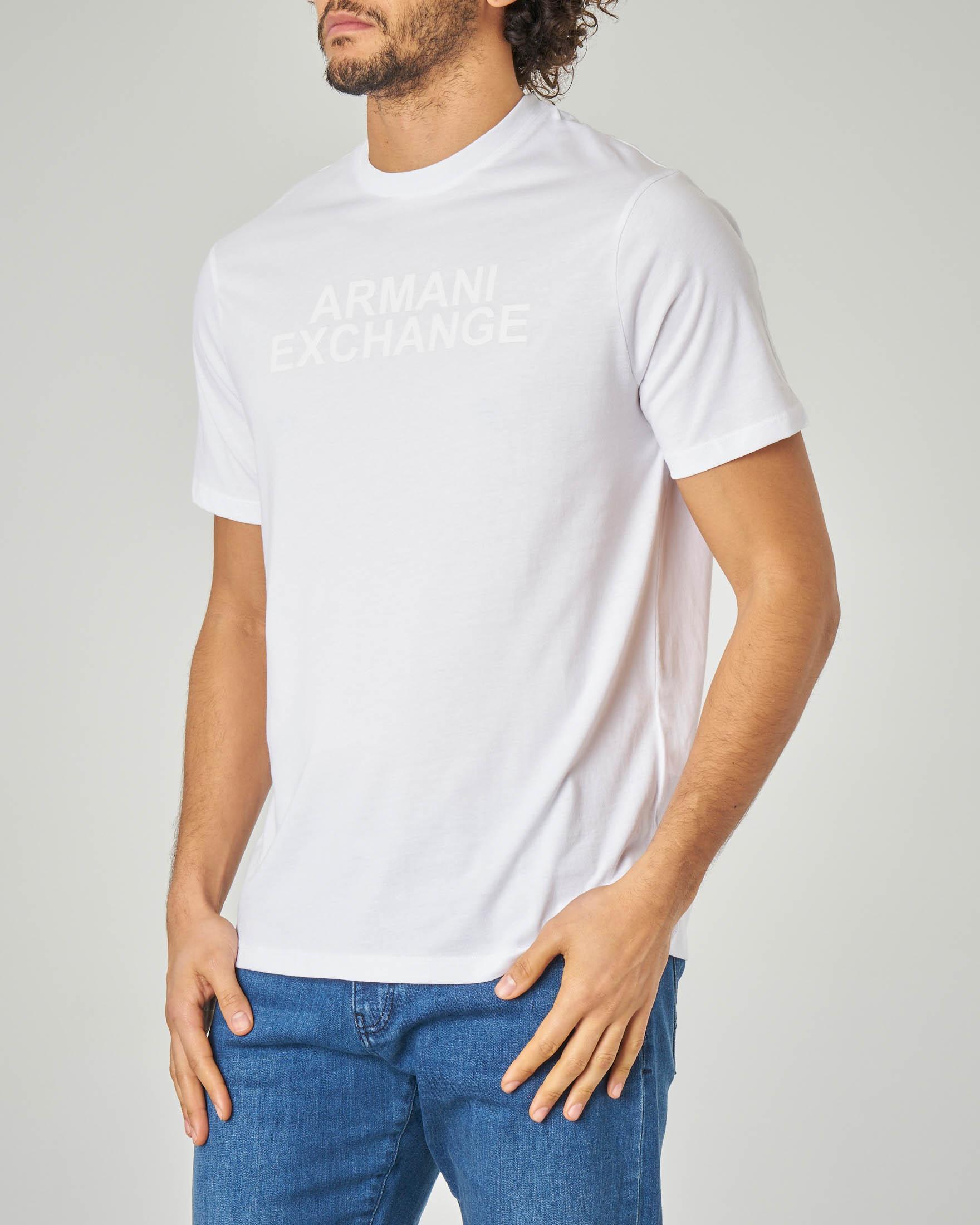 T-shirt bianca con stampa in rilievo tono su tono