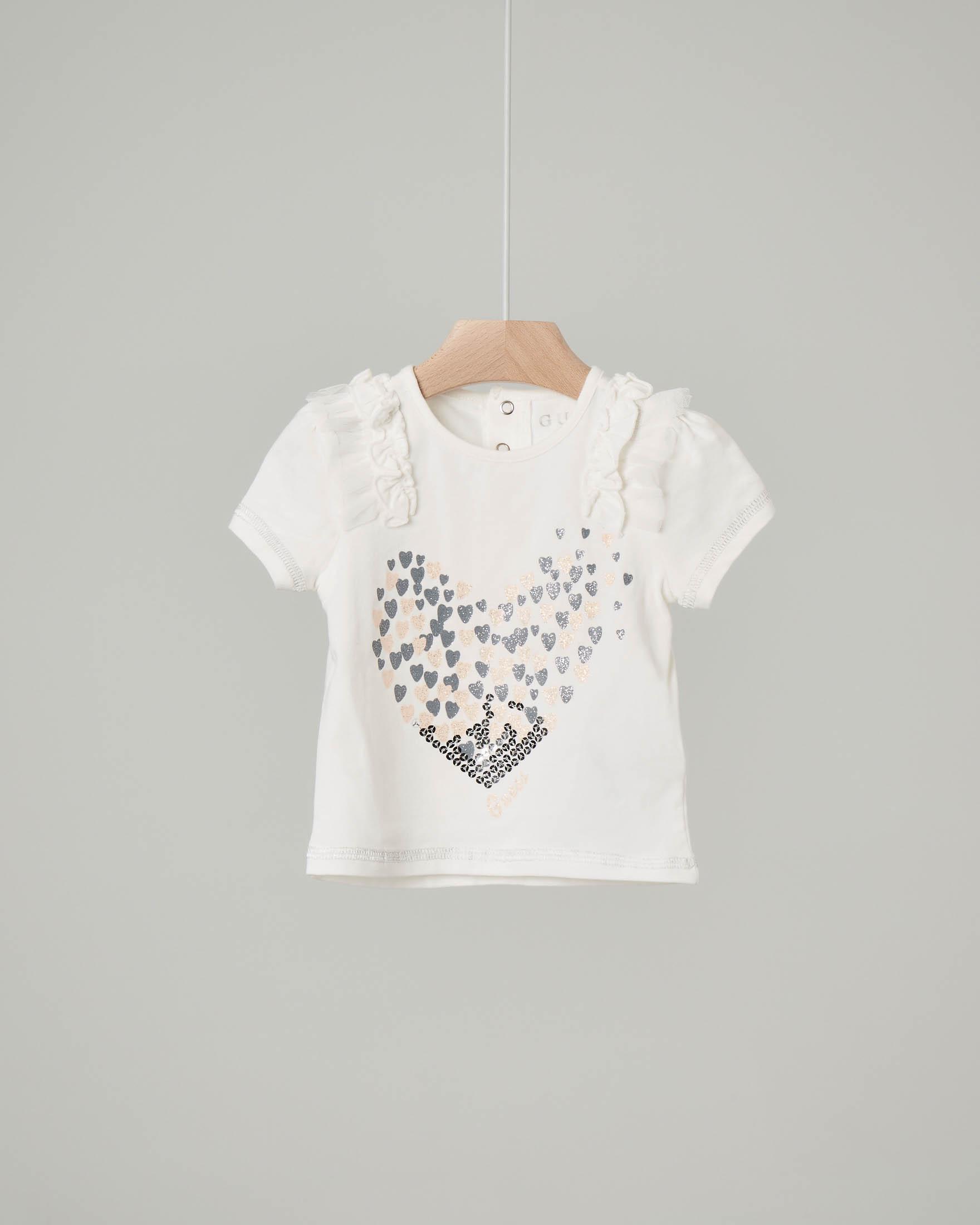 T-shirt bianca con volant e ricami glitter e paillettes