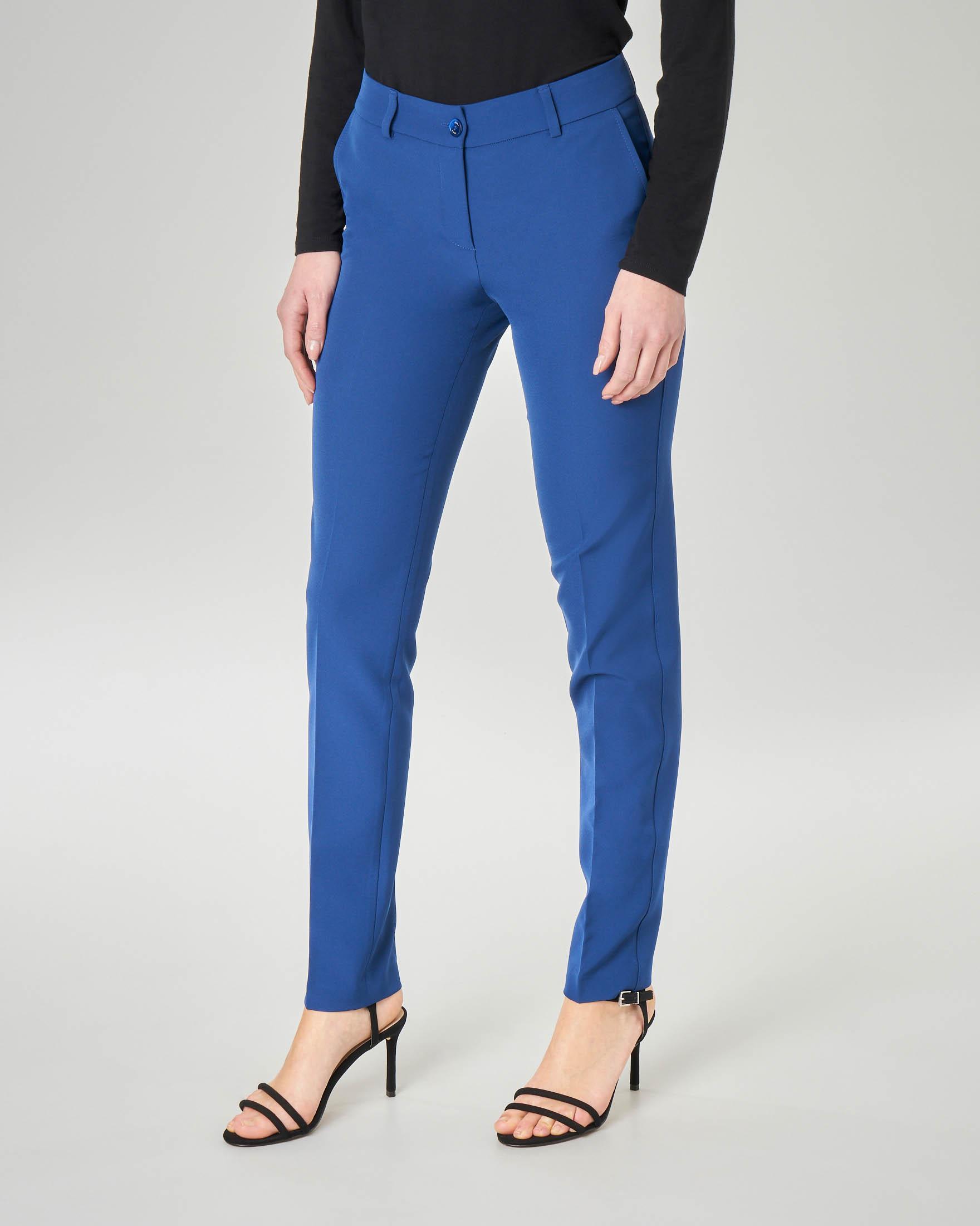 Pantalone blu china in cady lunghezza regular