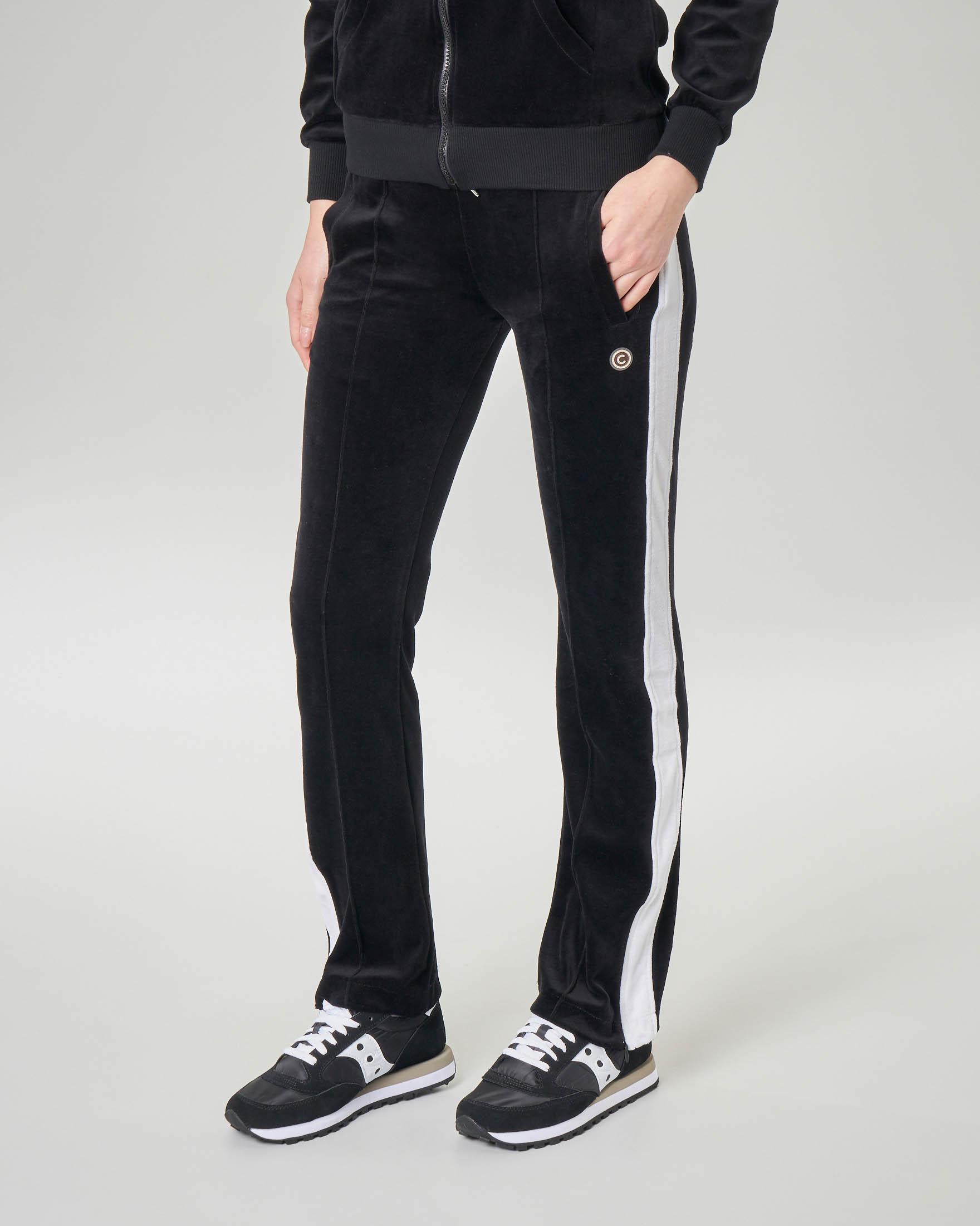 Pantaloni neri in ciniglia di cotone con banda laterale a contrasto