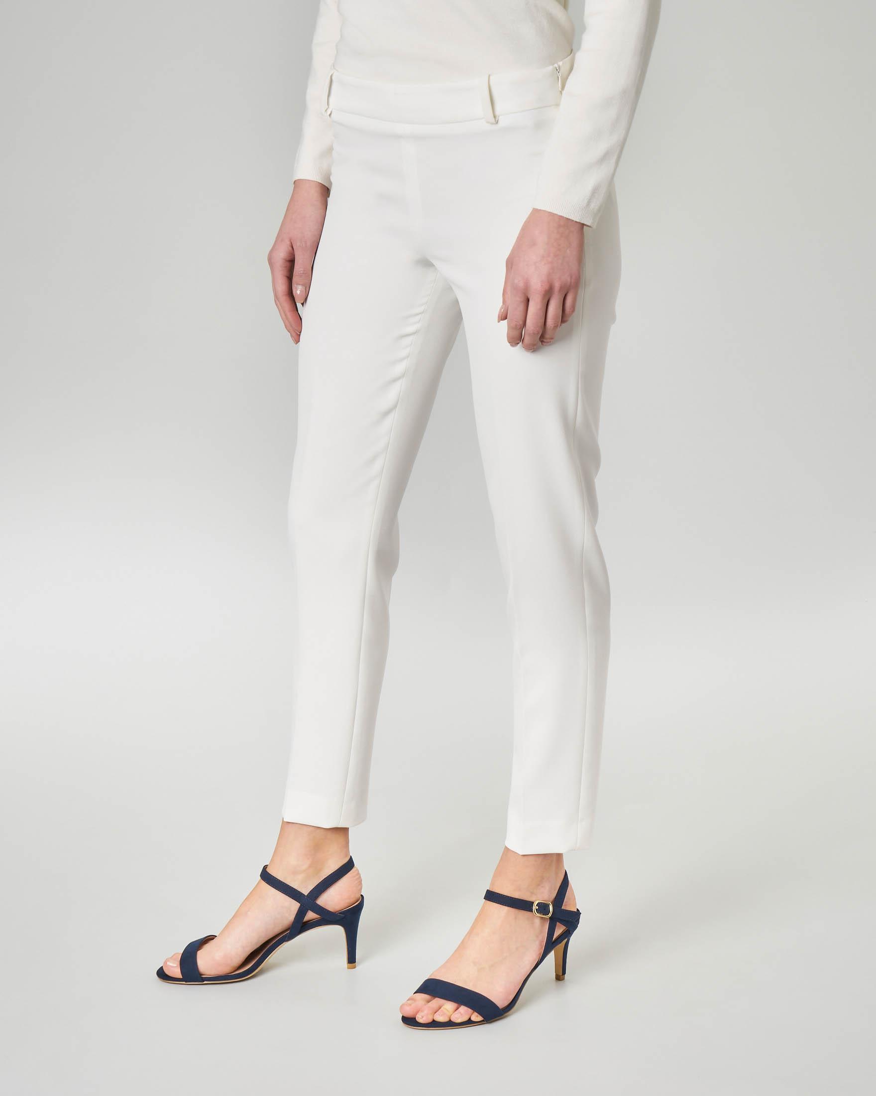 Pantalone bianco in cady lunghezza alla caviglia
