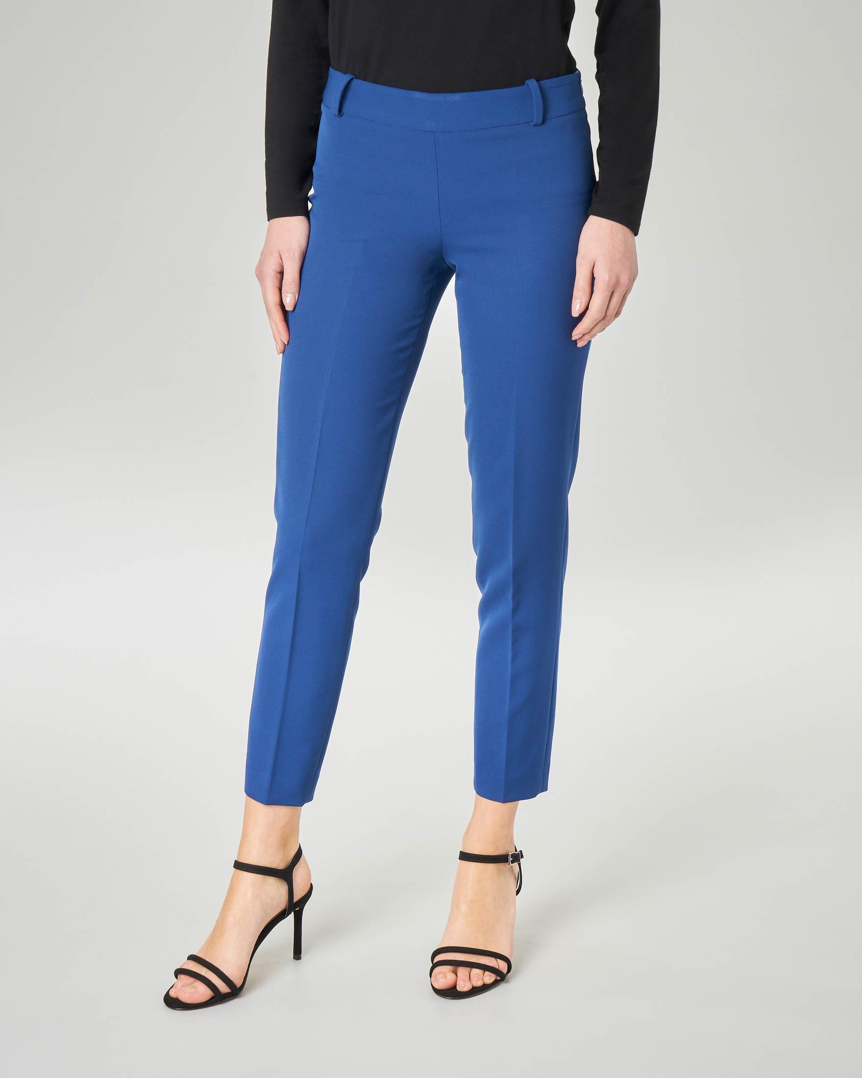 Pantalone blu china in cady lunghezza alla caviglia