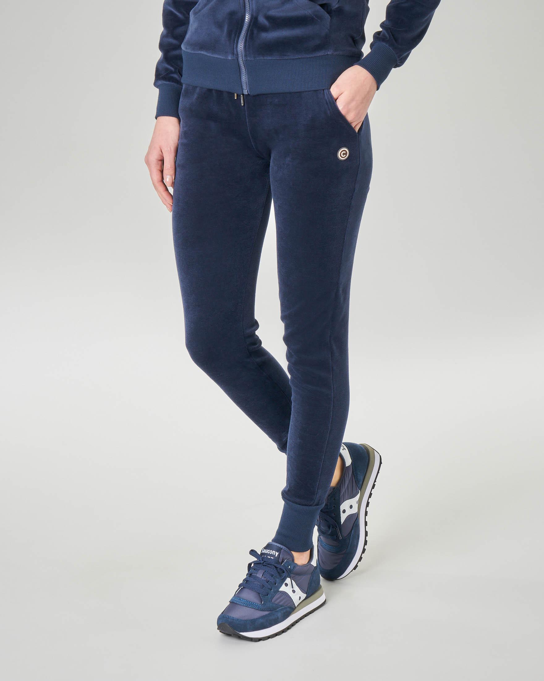 Pantaloni joggers blu in ciniglia di cotone