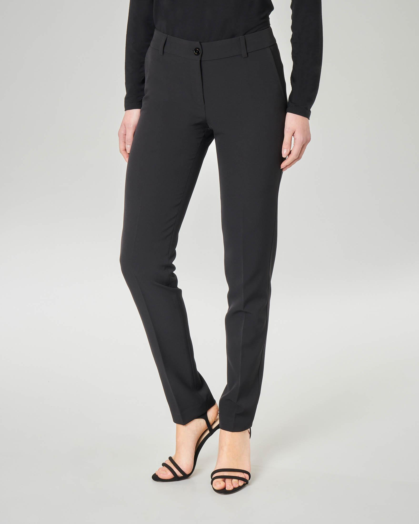 Pantalone nero in cady lunghezza regular